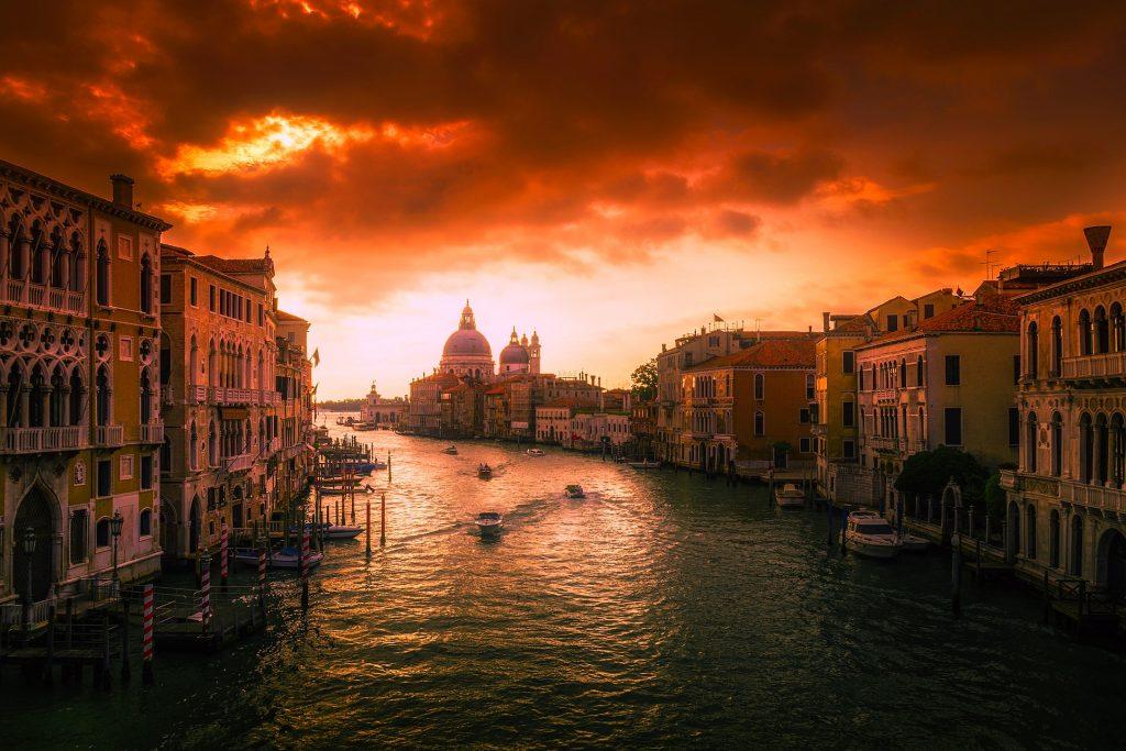 城市, 通道, 建筑, 小船, 威尼斯, 多云, 1706151815