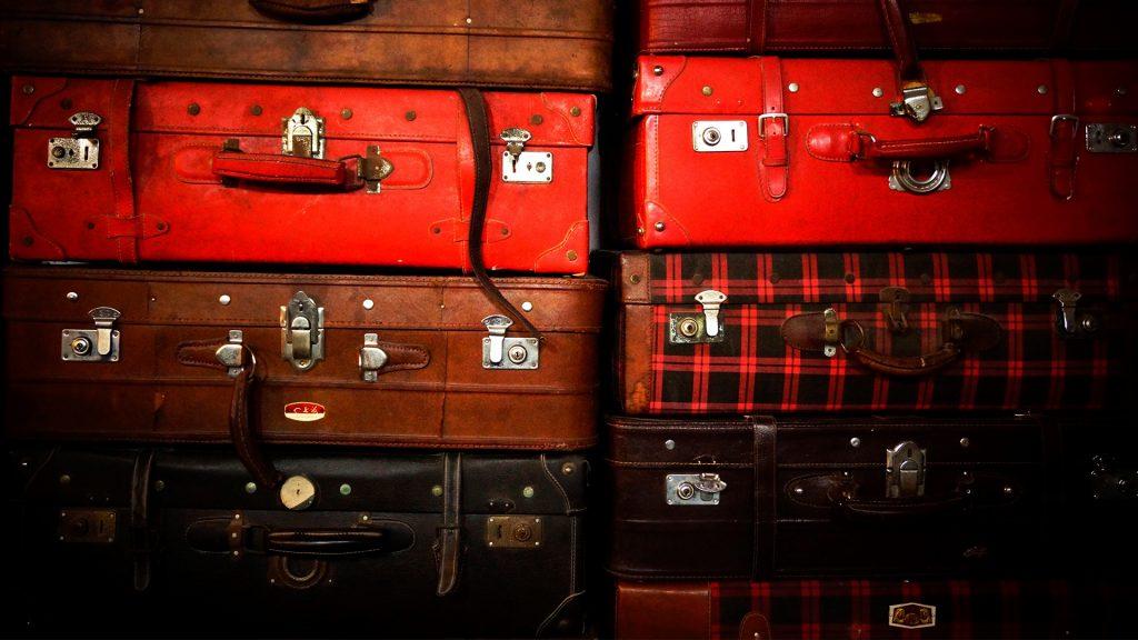 equipaje, maletas, antiguas, vintage, montón, pila, 1706220854
