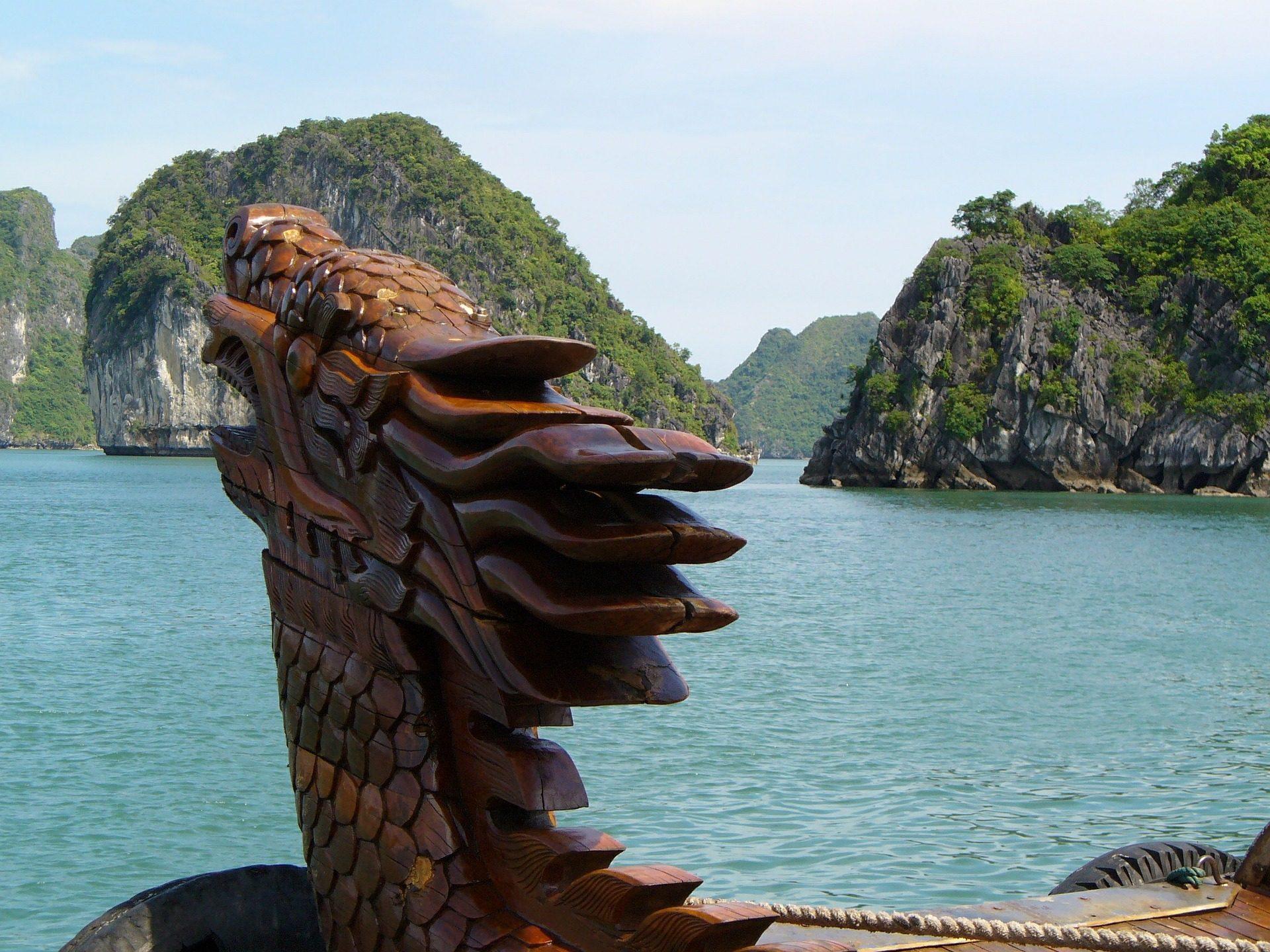 скульптура, Дракон, Монтаньяс, Море, скалы, Вьетнам - Обои HD - Профессор falken.com