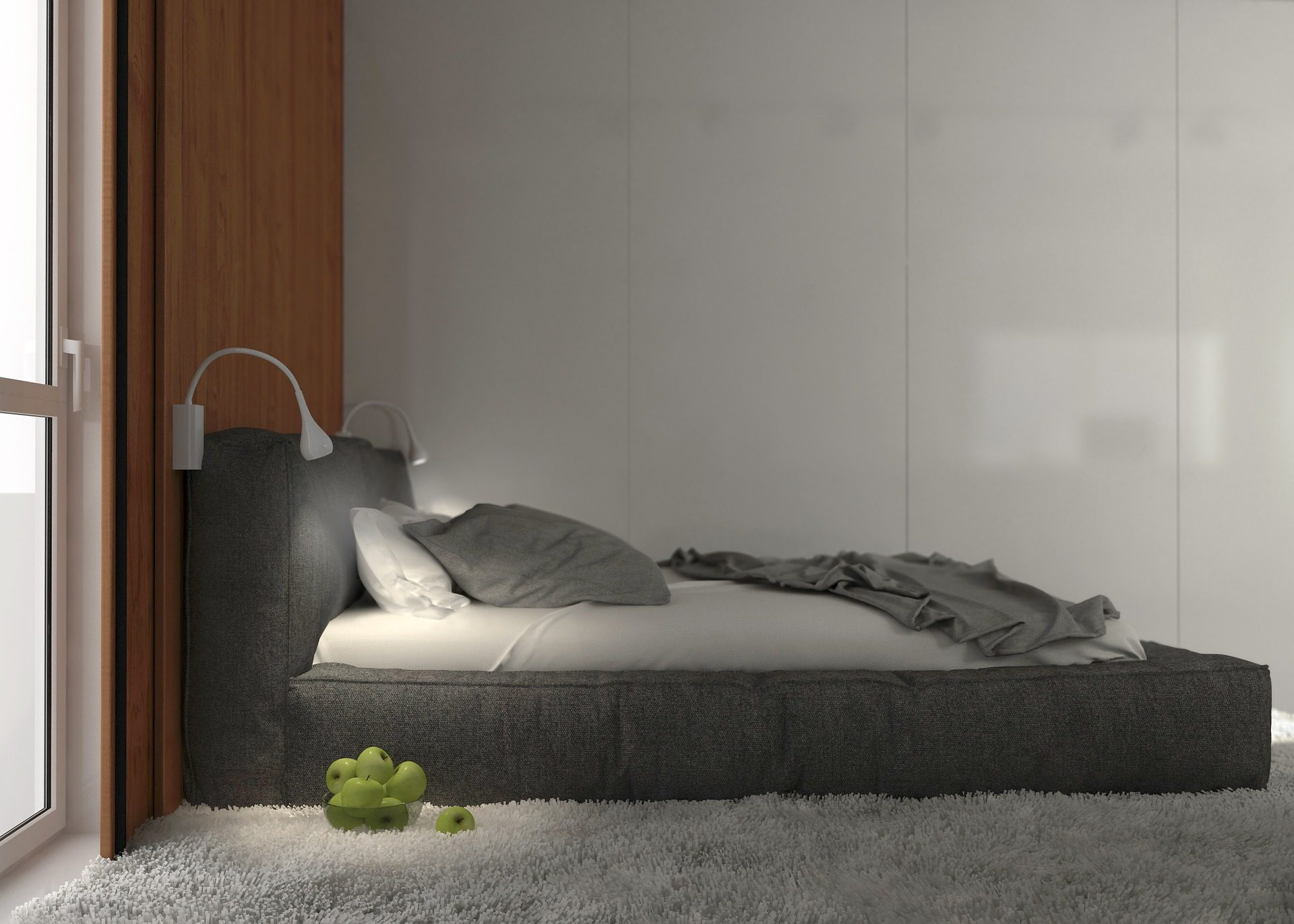 Δωμάτιο, υπνοδωμάτιο, κρεβάτι, υπόλοιπο, χαλί, Τα μήλα - Wallpapers HD - Professor-falken.com