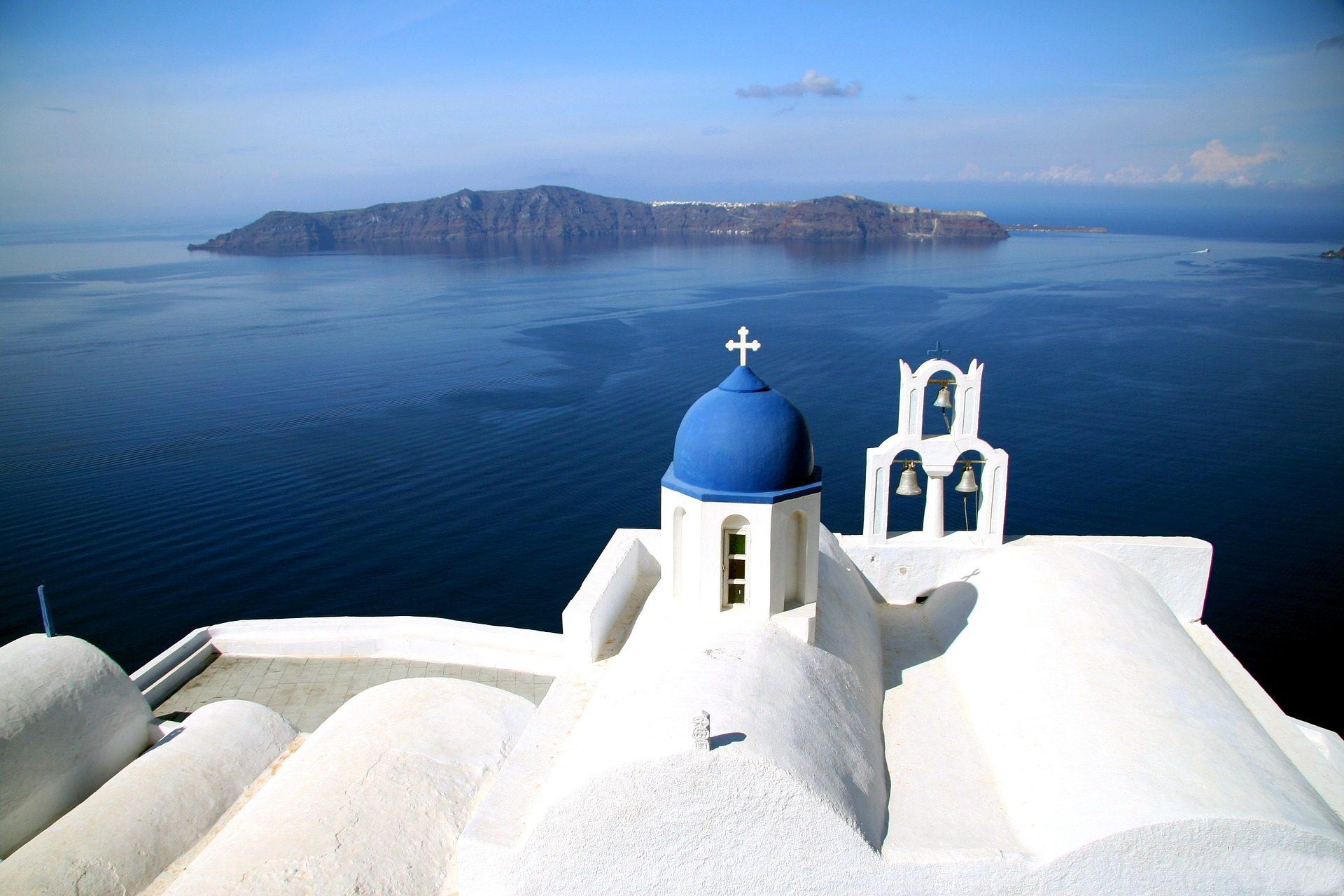 海, 山, 岛屿, 教会, 圣所, 圣托里尼岛, 希腊 - 高清壁纸 - 教授-falken.com