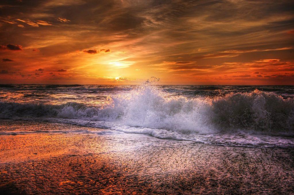 海, 海滩, 波, 飞溅, 日落, 太阳, 云彩, 1706241247
