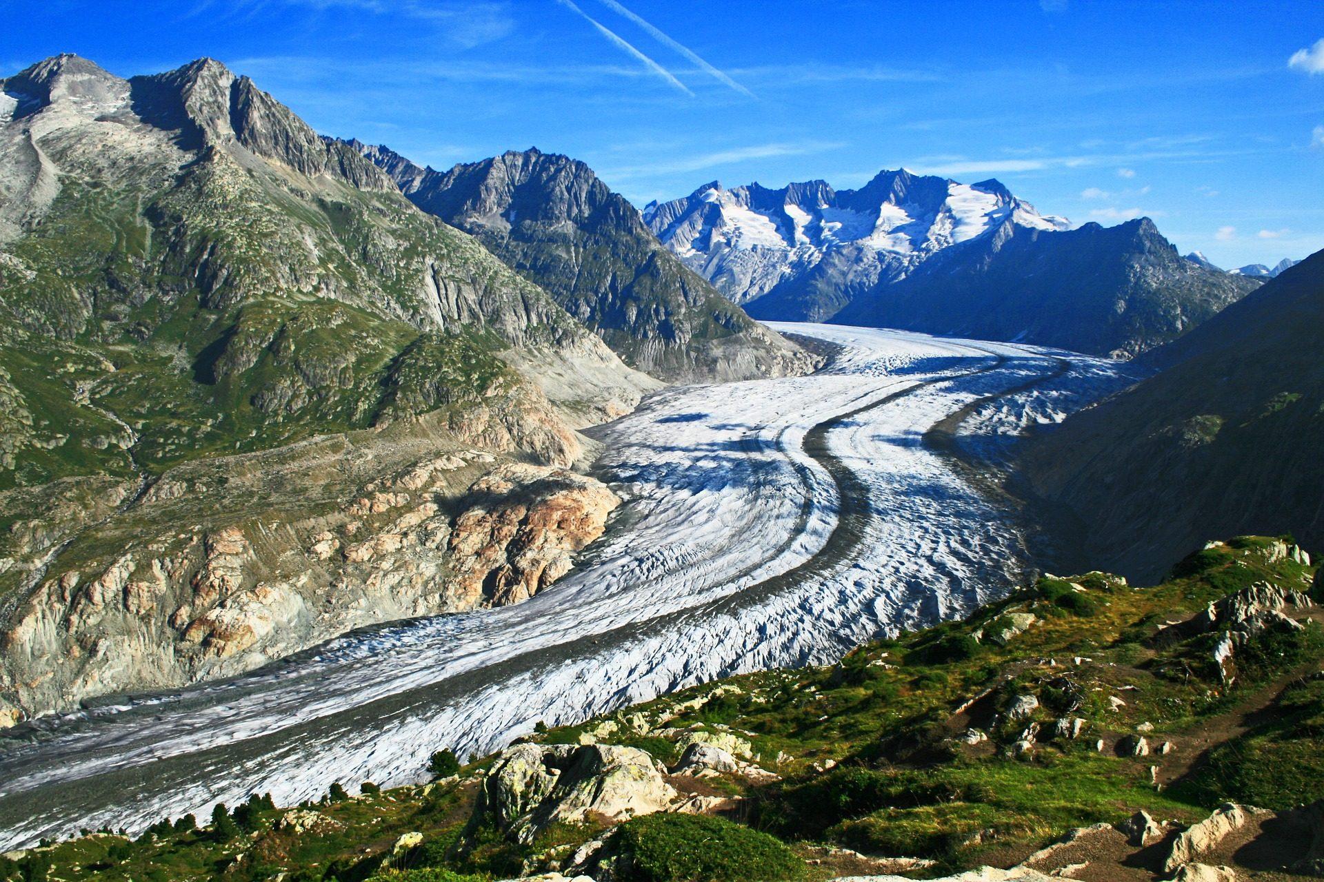 Montañas, Tal, Schnee, Gletscher, Alteschgletscher, Schweiz - Wallpaper HD - Prof.-falken.com