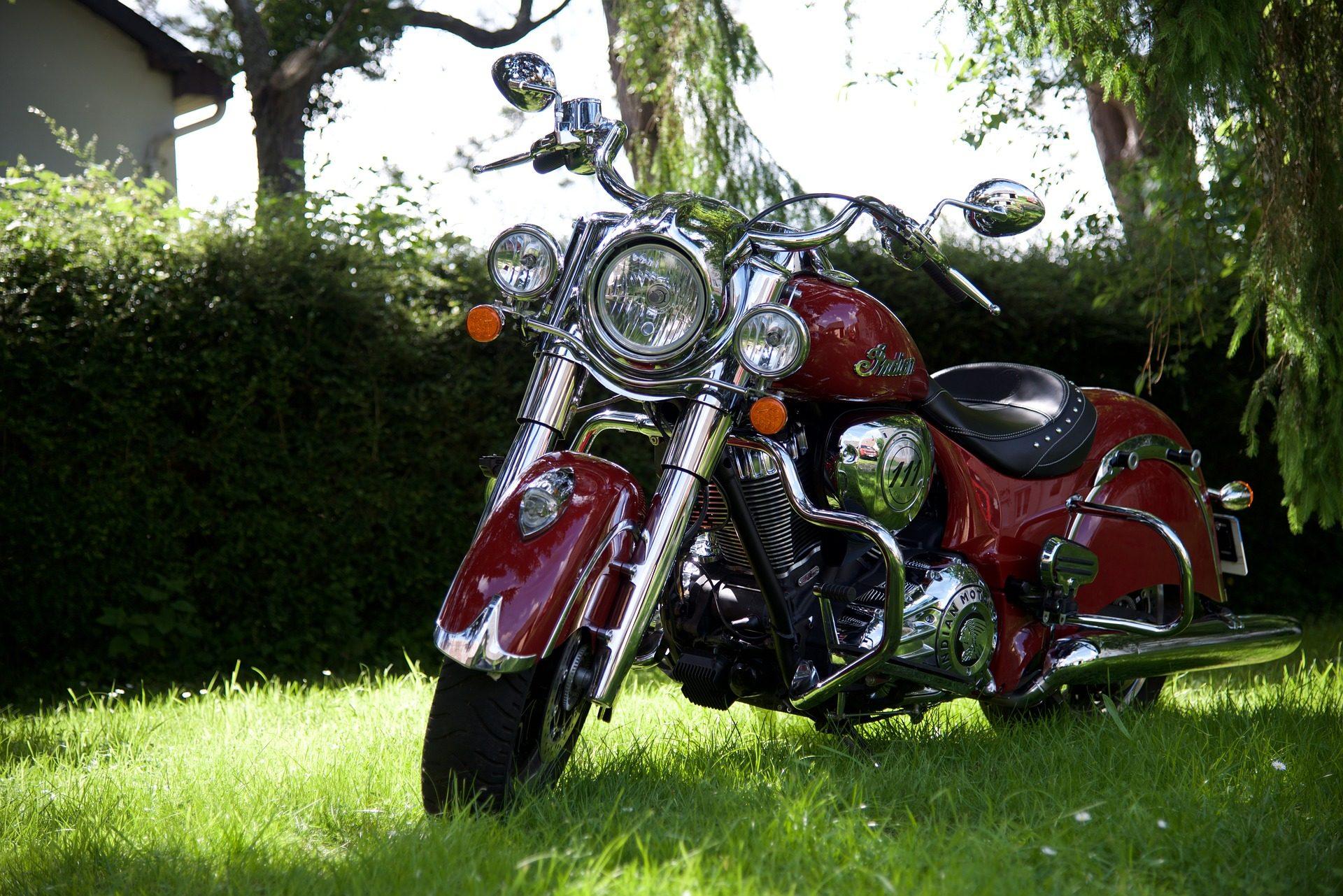 мотоцикл, Индийская, Спрингфилд, яркость, Сад, Красный - Обои HD - Профессор falken.com
