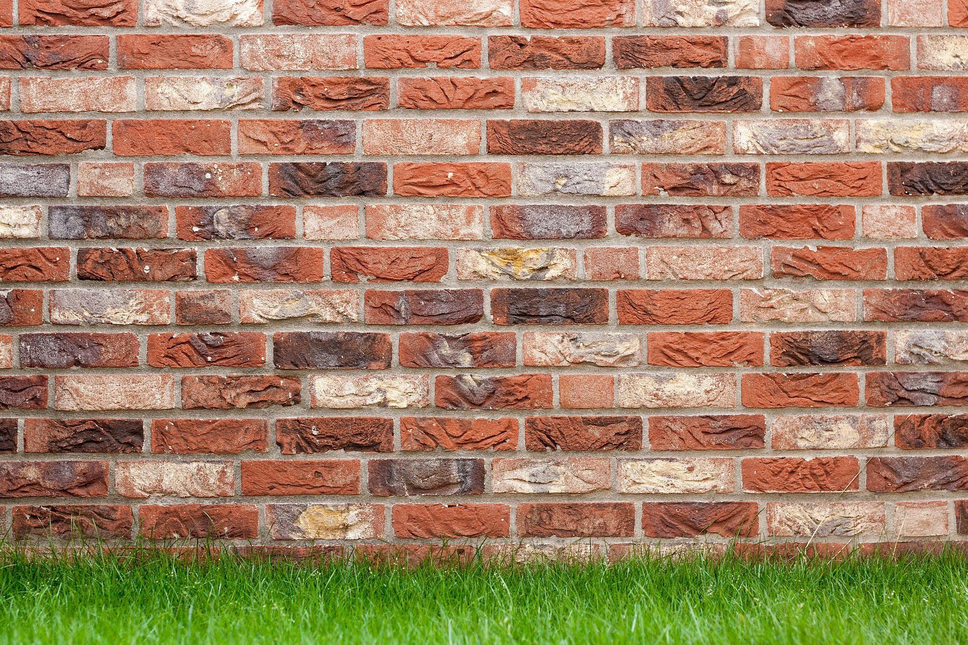 Fondo de pantalla de pared ladrillos muro hierba - Ladrillos para pared ...