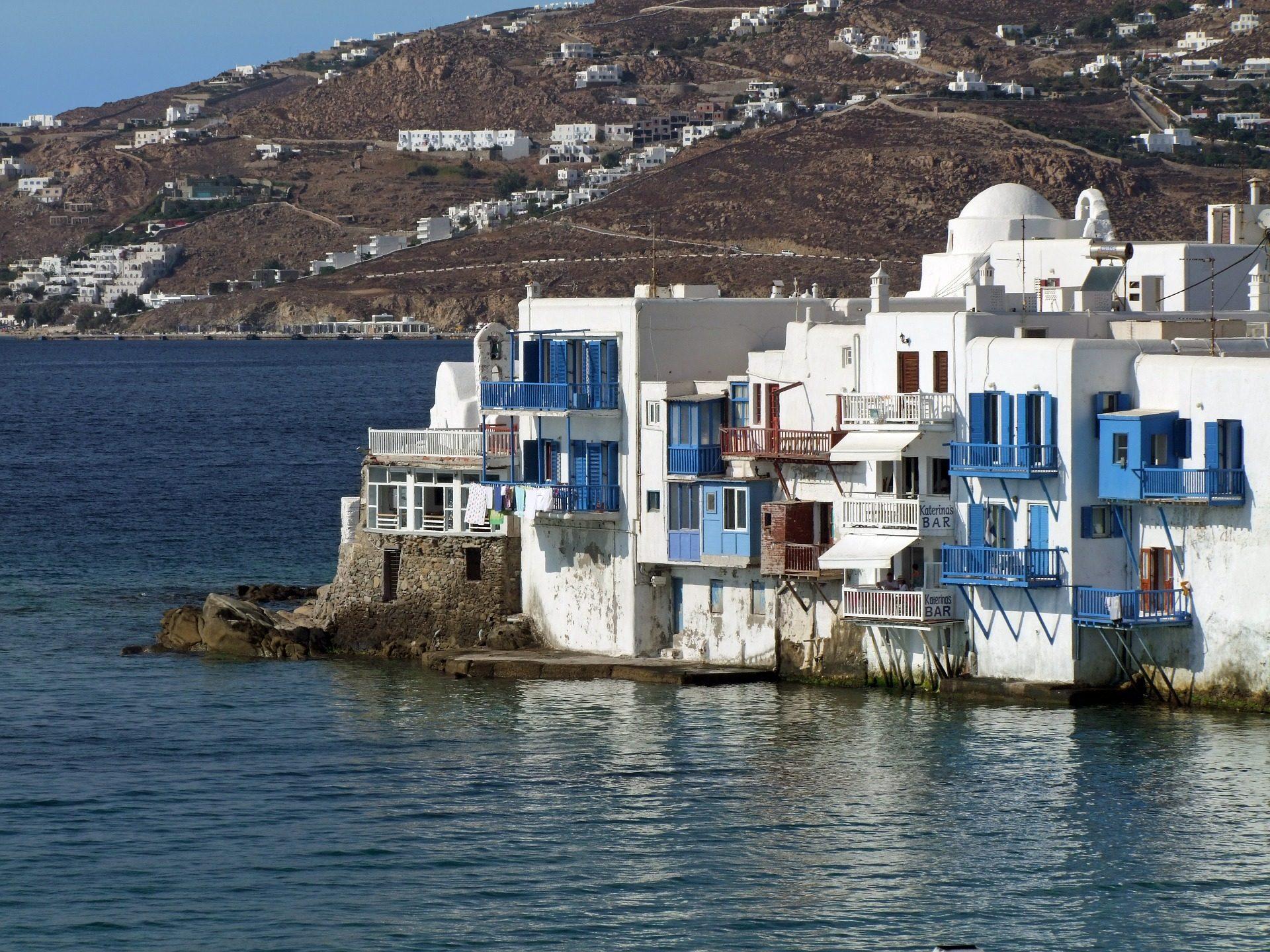vila, Mar, casas, Montanha, Míconos, Grécia - Papéis de parede HD - Professor-falken.com