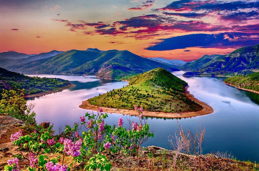 视图, Montañas, 河, 植被, 多彩, 几点思考, 1706251522