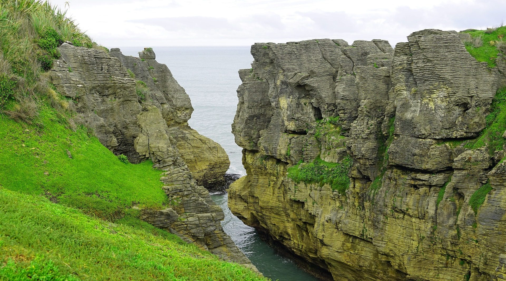 क्लिफ, कोस्टा, सागर, पैनकेक चट्टानों, न्यूज़ीलैंड - HD वॉलपेपर - प्रोफेसर-falken.com