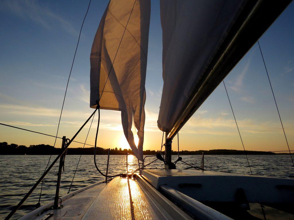 barco, velas, navegar, mar, océano, sol, horizonte, 1707210854