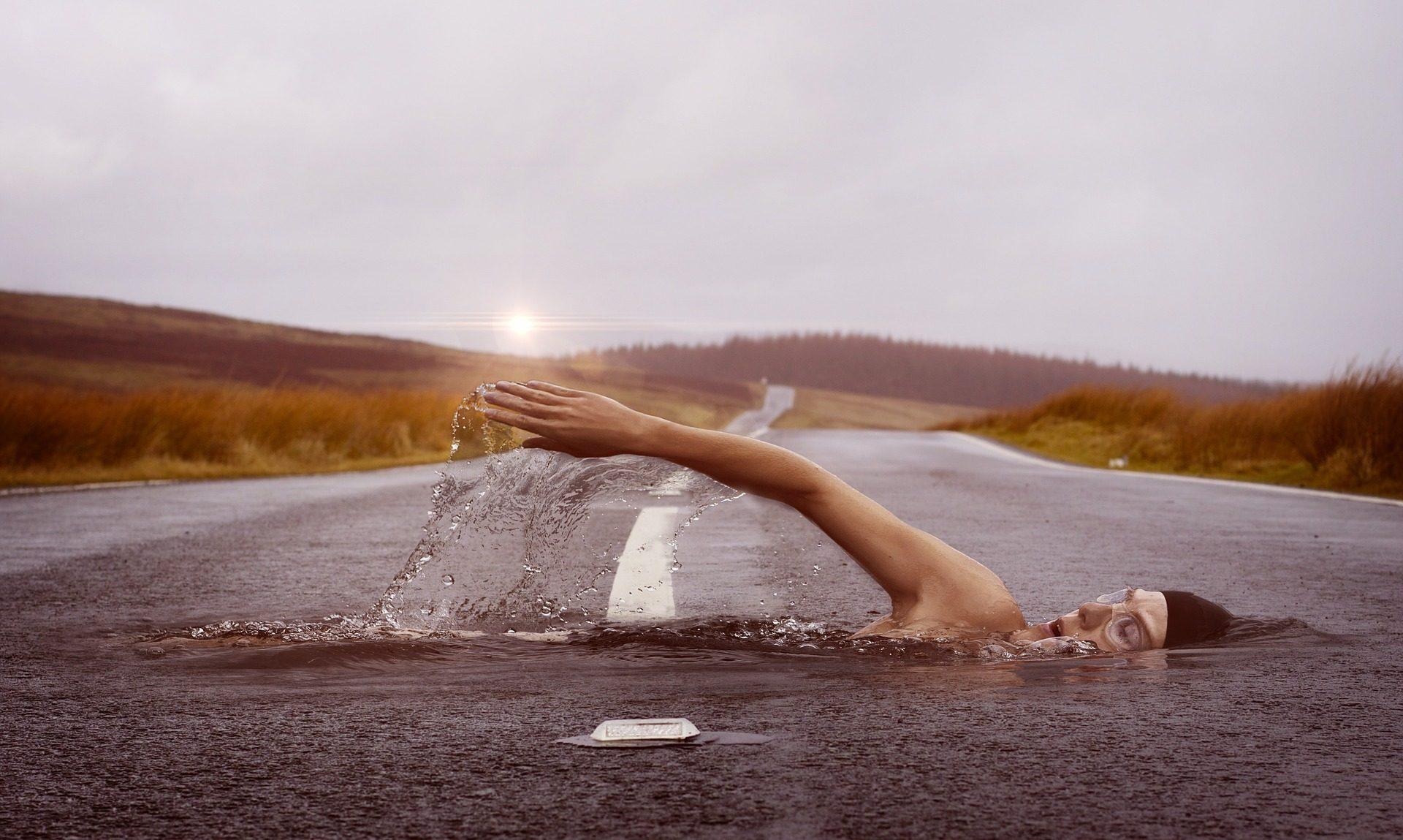 carretera, الطريق, السباح, المياه, جهد - خلفيات عالية الدقة - أستاذ falken.com