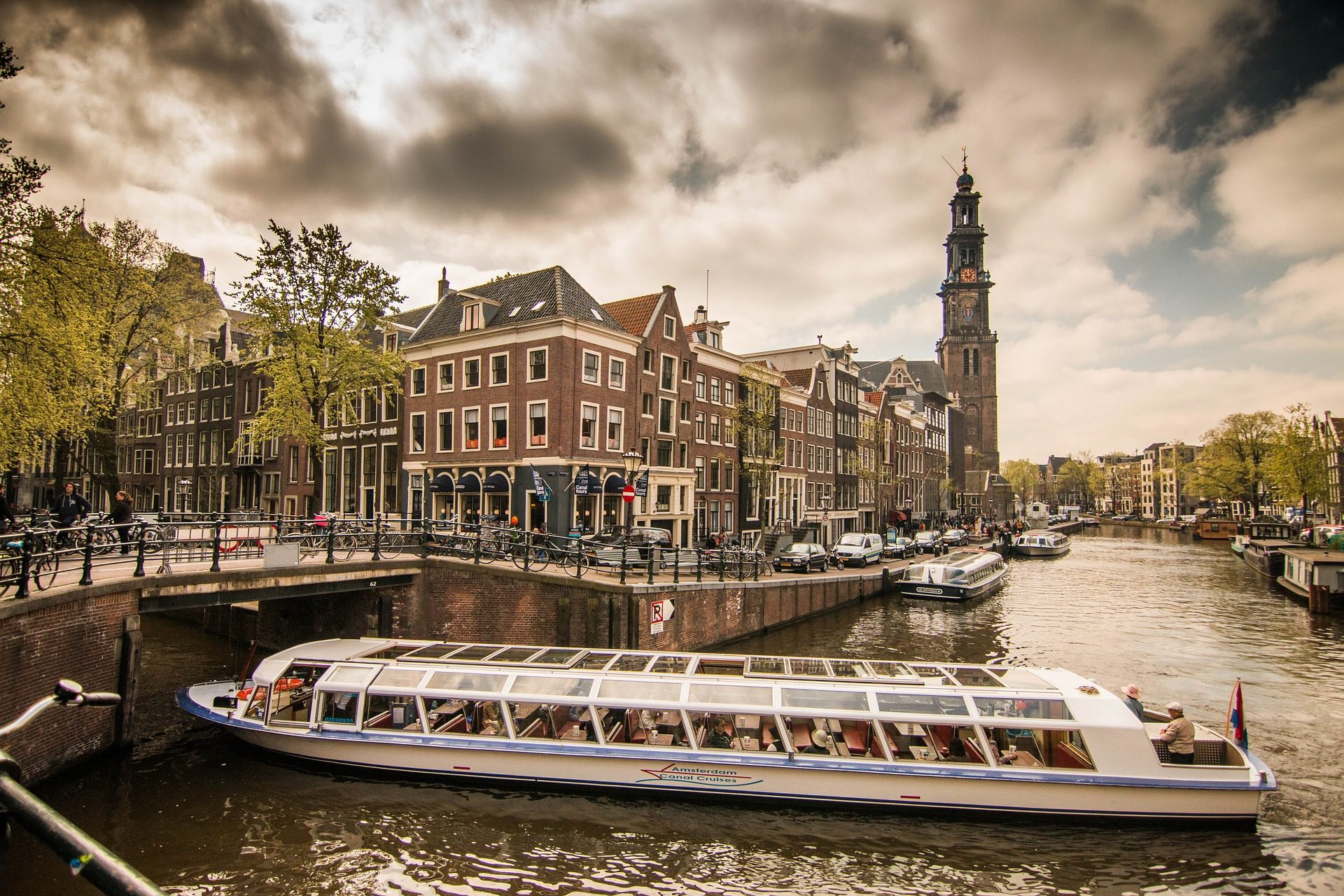 市, ボート, チャンネル, 川, 曇り, アムステルダム - HD の壁紙 - 教授-falken.com