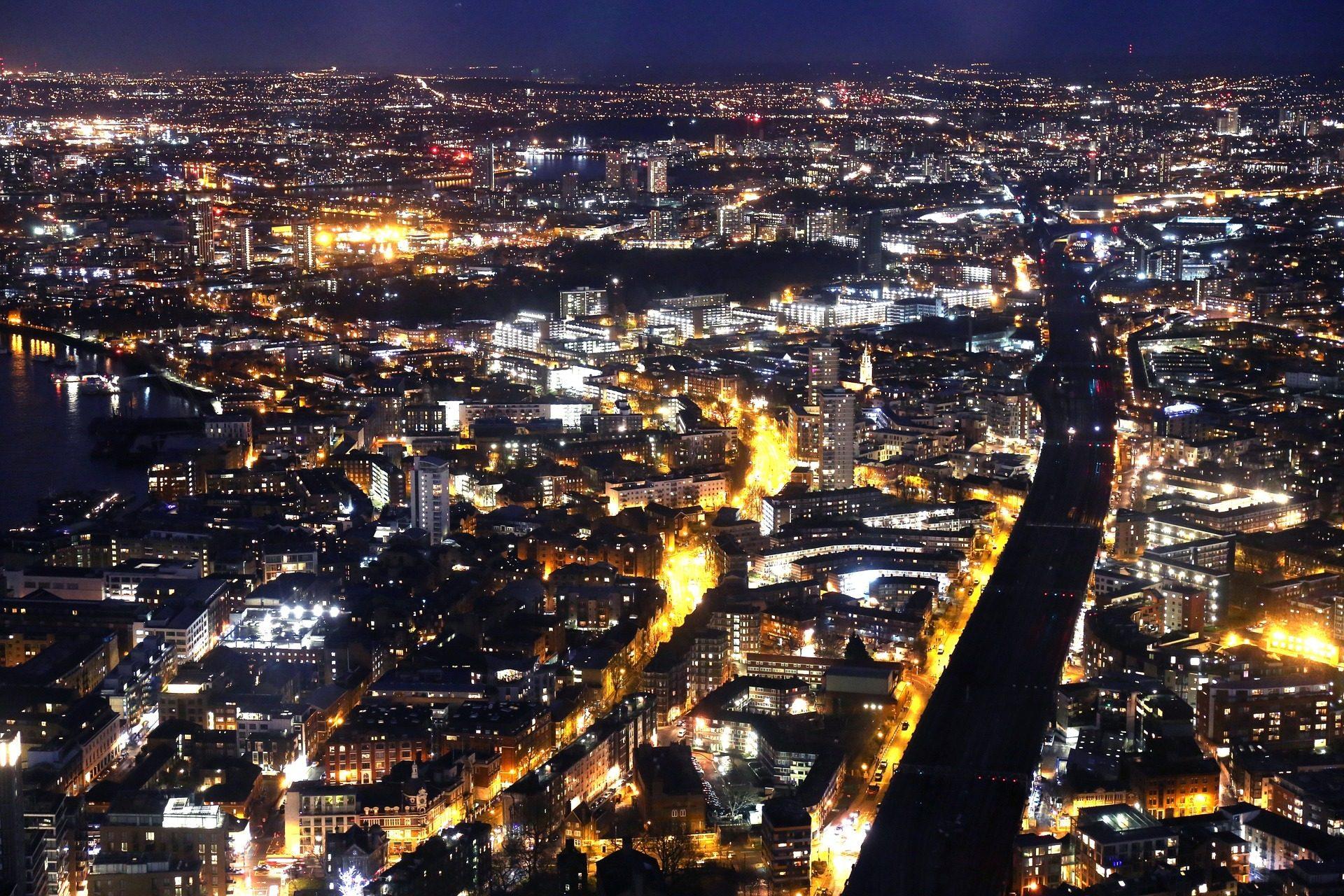 مدينة, ليلة, أضواء, الشوارع, المباني, لندن - خلفيات عالية الدقة - أستاذ falken.com