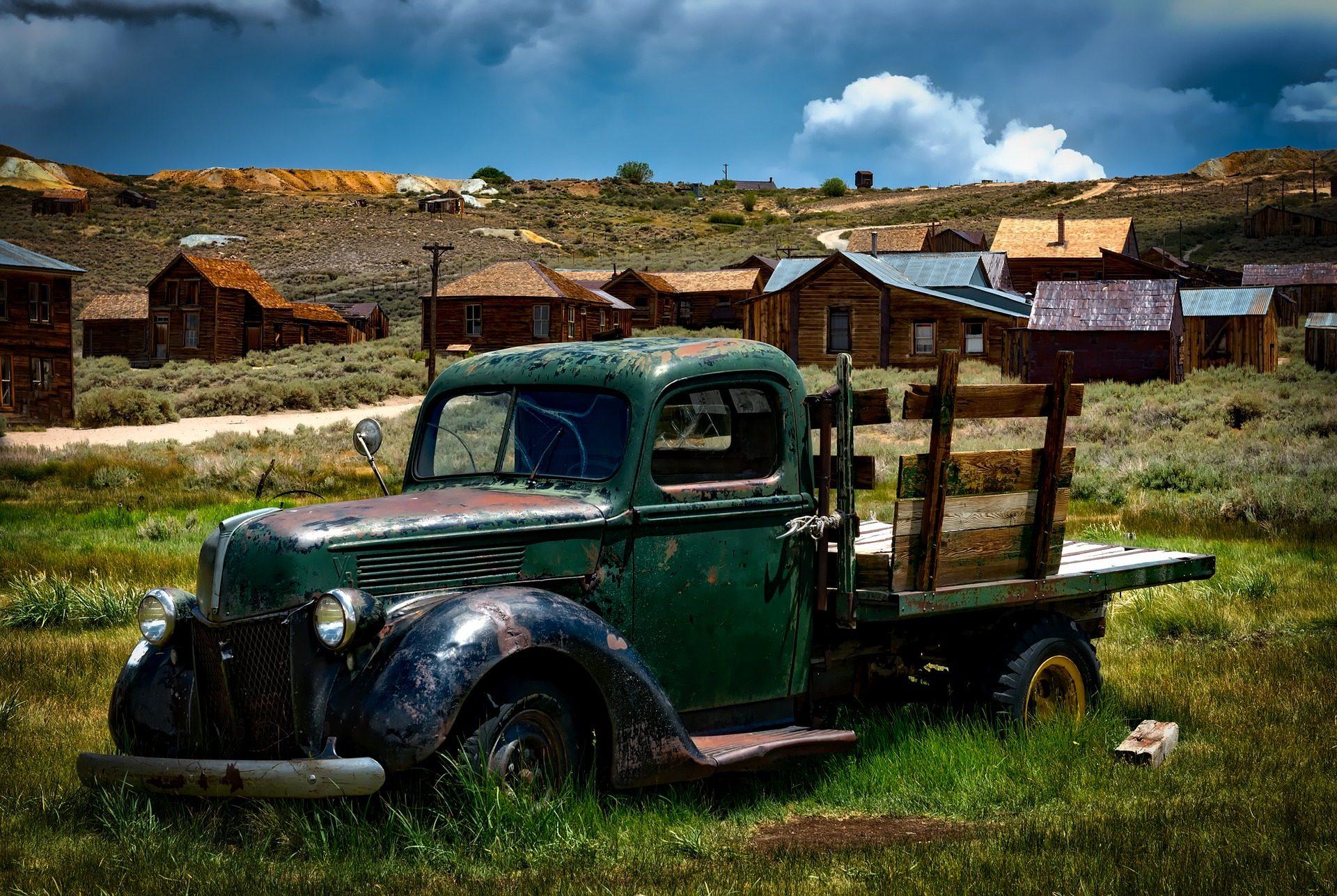 سيارات, شاحنة, التخلي عن, القديمة, قرية, أكواخ - خلفيات عالية الدقة - أستاذ falken.com