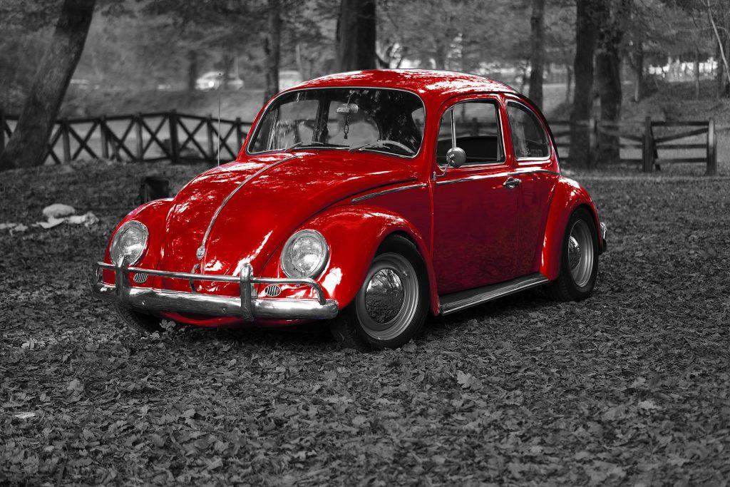 coche, escarabajo, vintage, restaurado, en blanco y negro, rojo, 1707271448