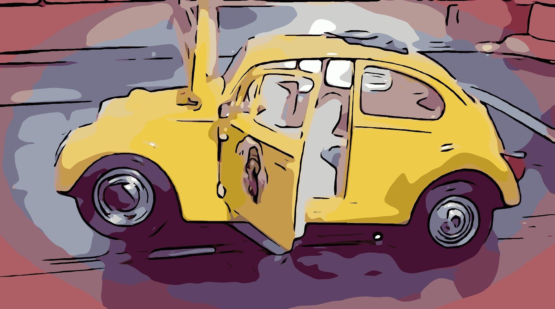 auto, Seicento, Scarabeo, pittura, Giallo - Sfondi HD - Professor-falken.com