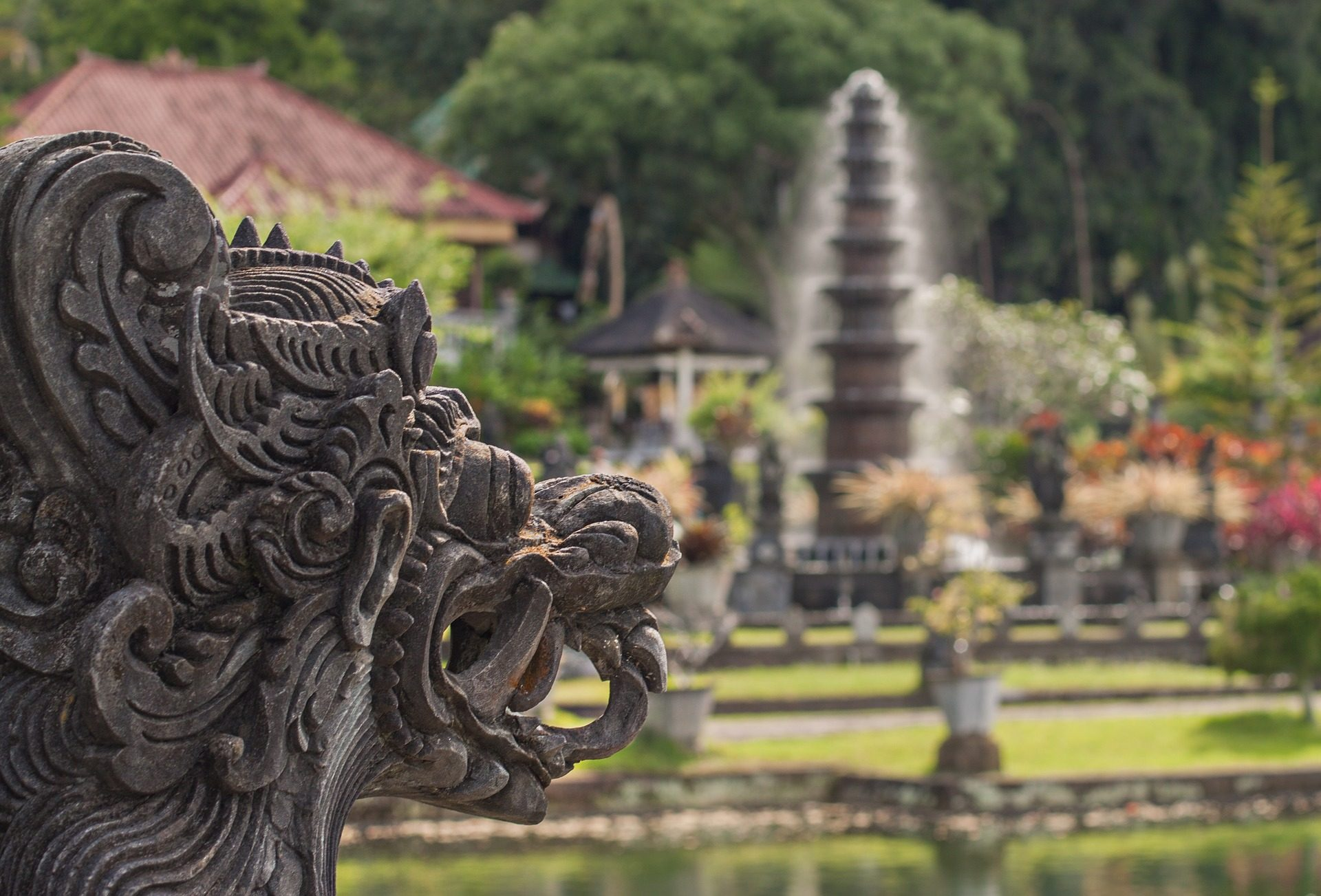 Dragón, Statua, fonte, l'acqua Palace, Bali - Sfondi HD - Professor-falken.com