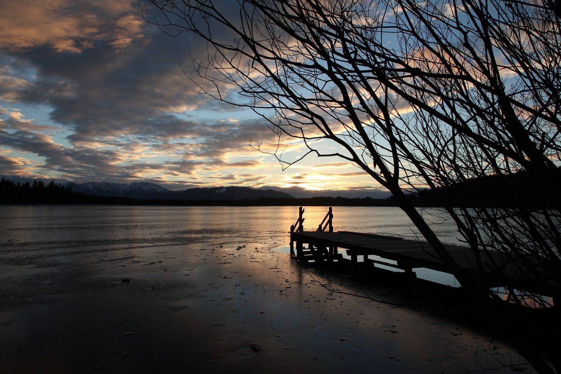 lago, alberi, Primavera, Embarcadero, Tramonto, nuvole - Sfondi HD - Professor-falken.com