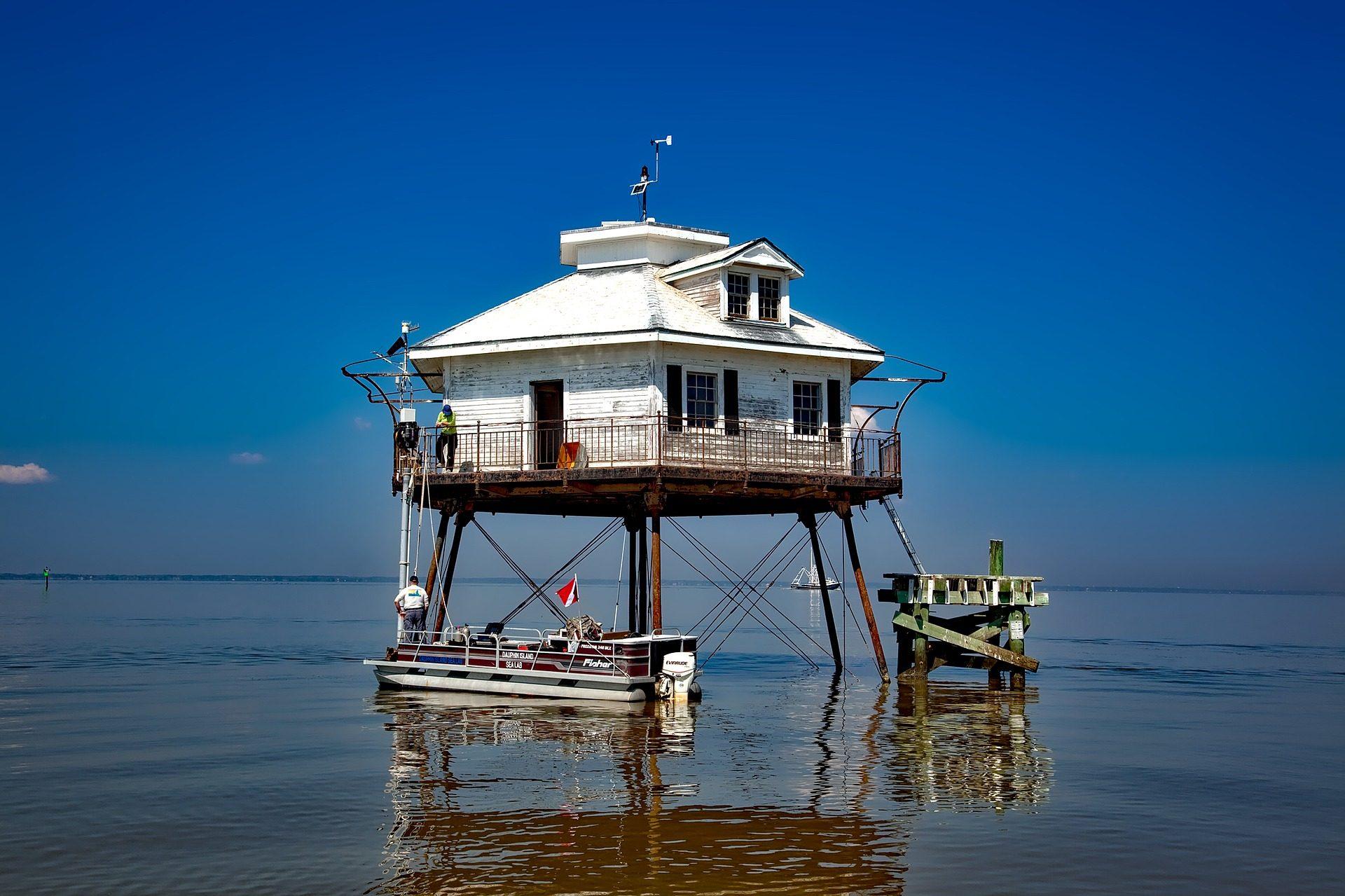 Mare, Casa, Embarcadero, barca, Faro, Bahía - Sfondi HD - Professor-falken.com