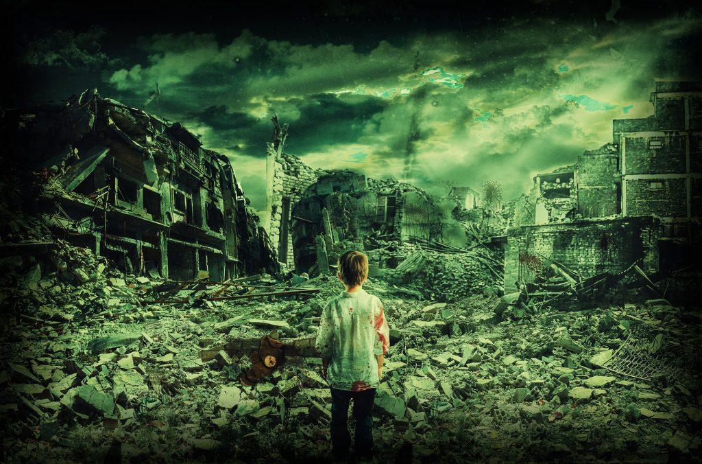niño, destrucción, guerra, ciudad, conflicto, soledad, 1707281642