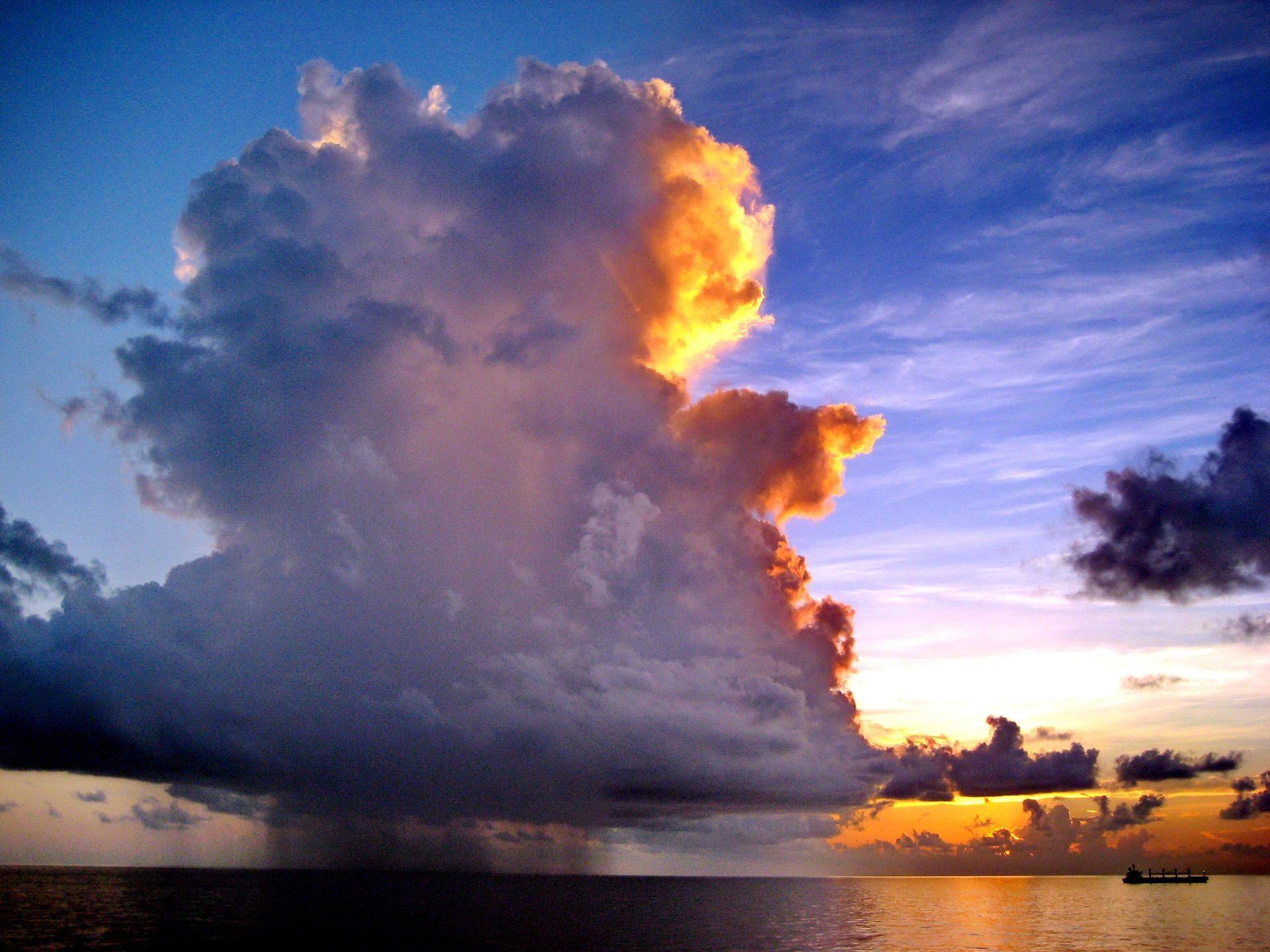 nuvem, cluster de, reflexão, Sol, Pôr do sol, Mar, barco - Papéis de parede HD - Professor-falken.com