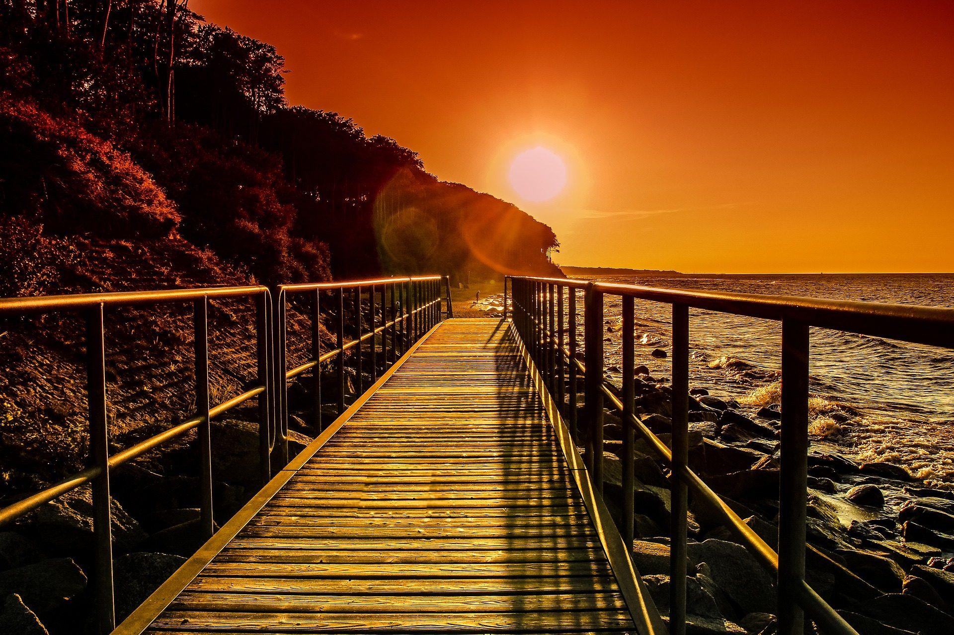 ビーチ, 海, ブリッジ, 通路, 木材, 太陽, サンセット - HD の壁紙 - 教授-falken.com
