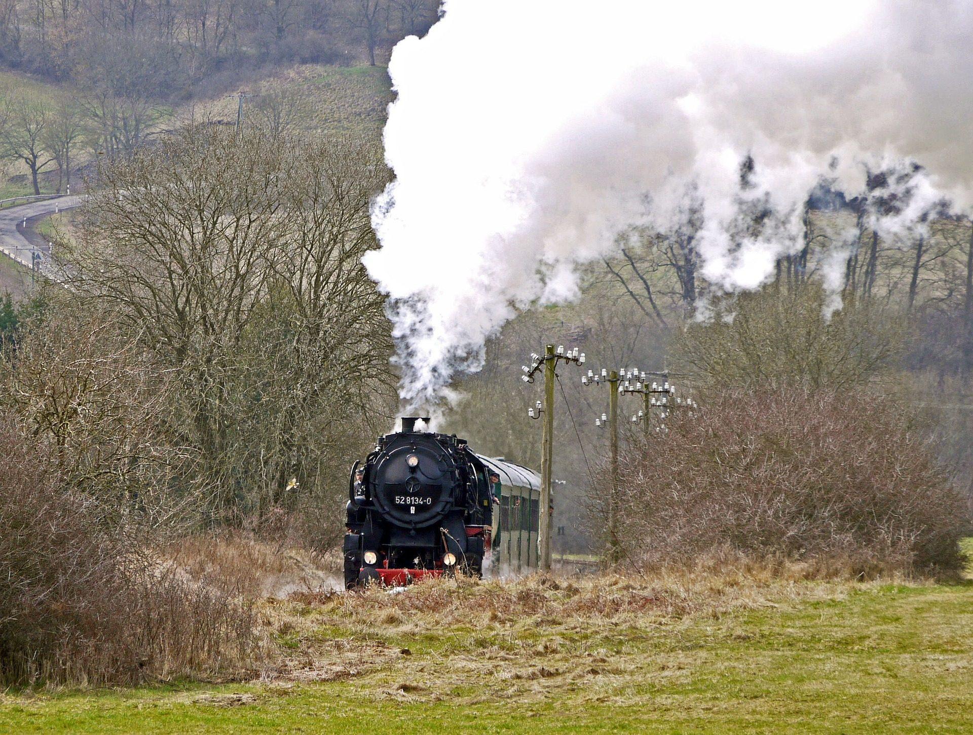 火车, 蒸汽, 机车, 吸烟, 字段 - 高清壁纸 - 教授-falken.com