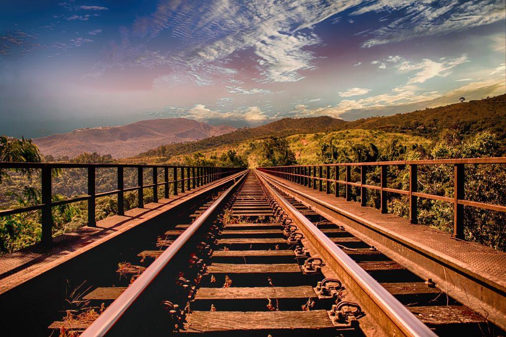 vías, camino, tren, ferrocarril, montañas, cielo, 1707262339