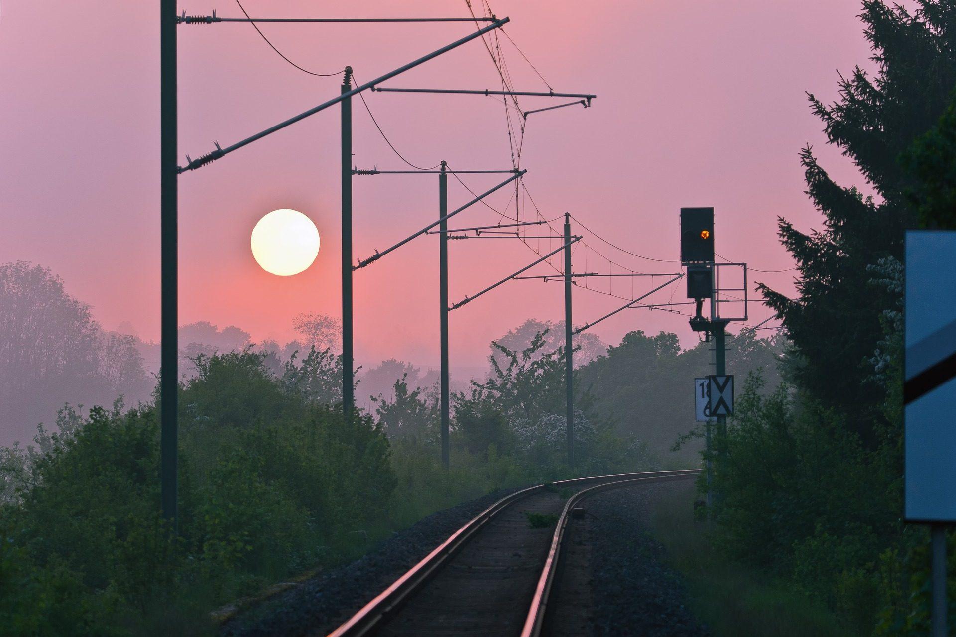 caminhos, estrada de ferro, semáforo, eletricidade, Sol, Pôr do sol - Papéis de parede HD - Professor-falken.com