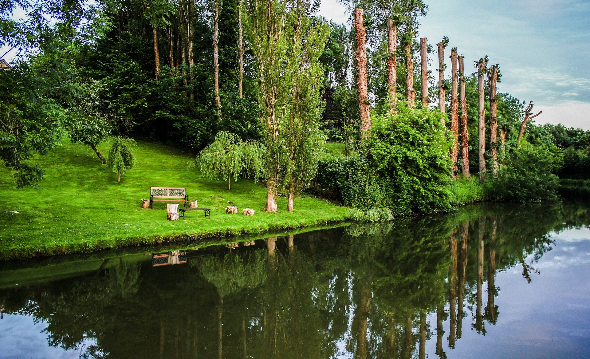 مقعد, بحيرة, الغابات, انعكاس, الأشجار, المياه, الاسترخاء - خلفيات عالية الدقة - أستاذ falken.com