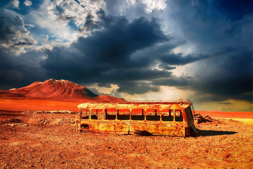 autobús, abandonado, viejo, desierto, perdido, 1708081847
