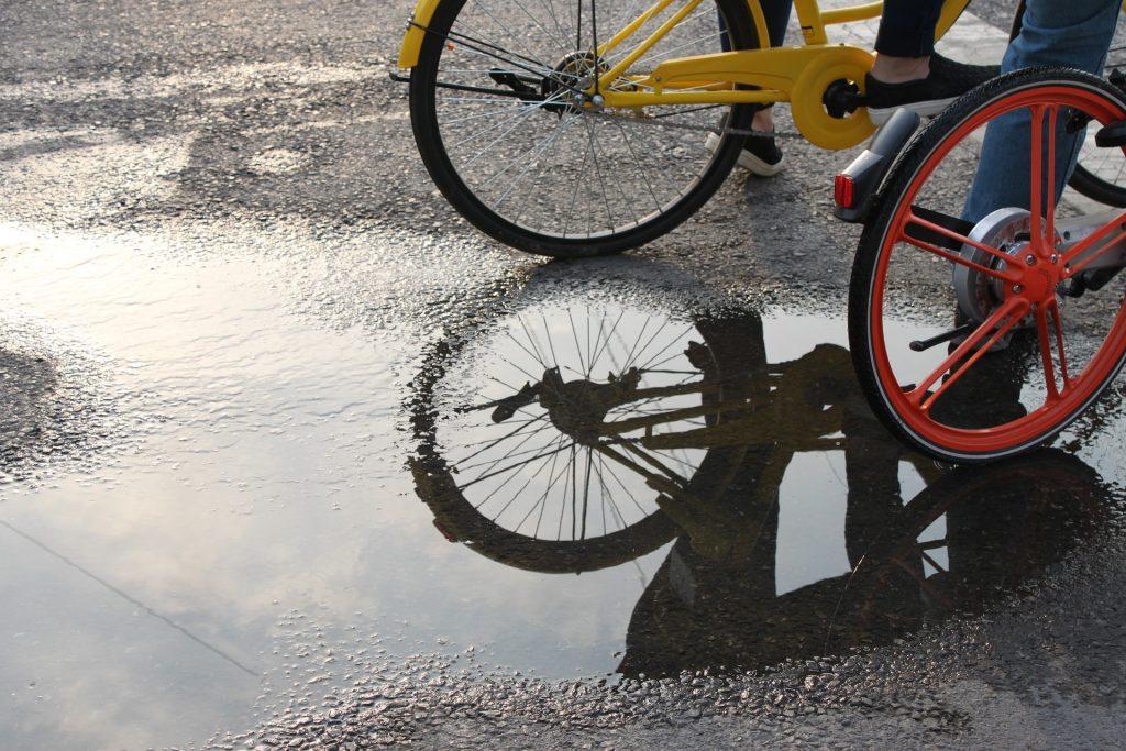 自行车, 车轮, 水坑, 反思, 水, 1708140825