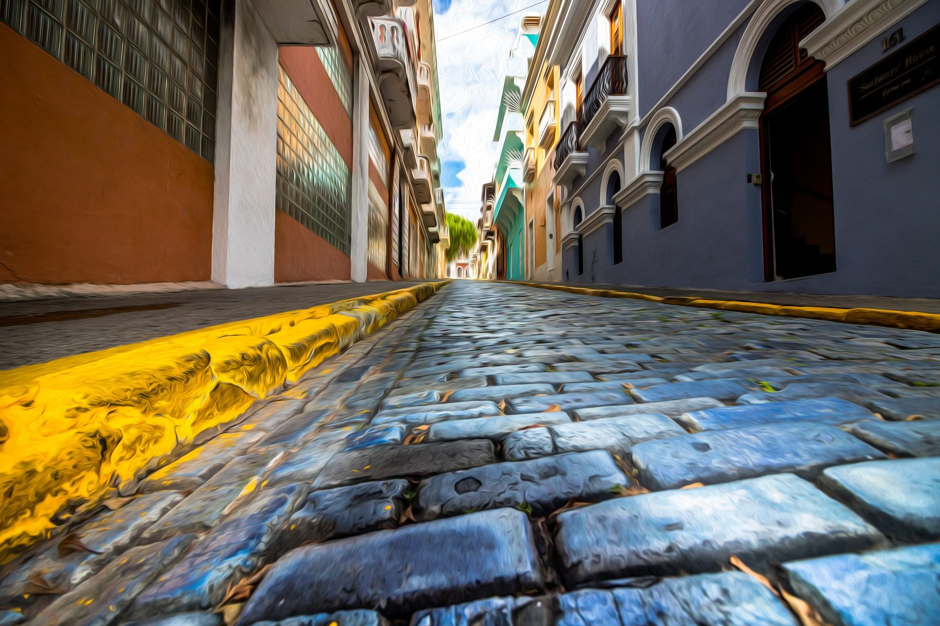 calle, acera, empedrado, casas, colorido - Fondos de Pantalla HD - professor-falken.com