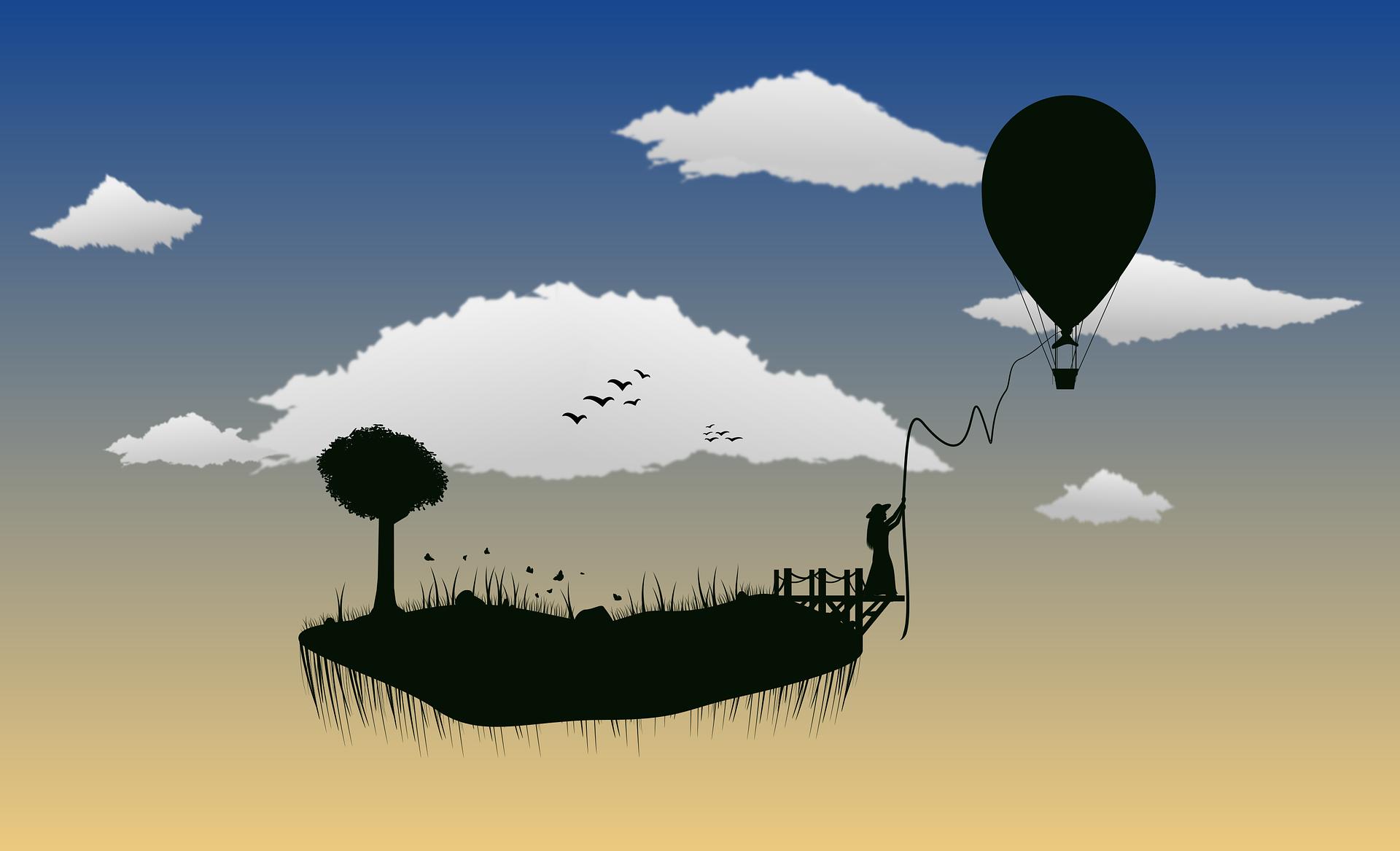 天空, 云彩, 岛屿, 树, 气球, 剪影 - 高清壁纸 - 教授-falken.com