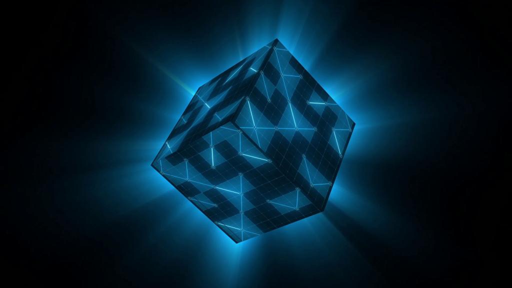 cubo, figura, geometría, rotación, halos, 1708302337
