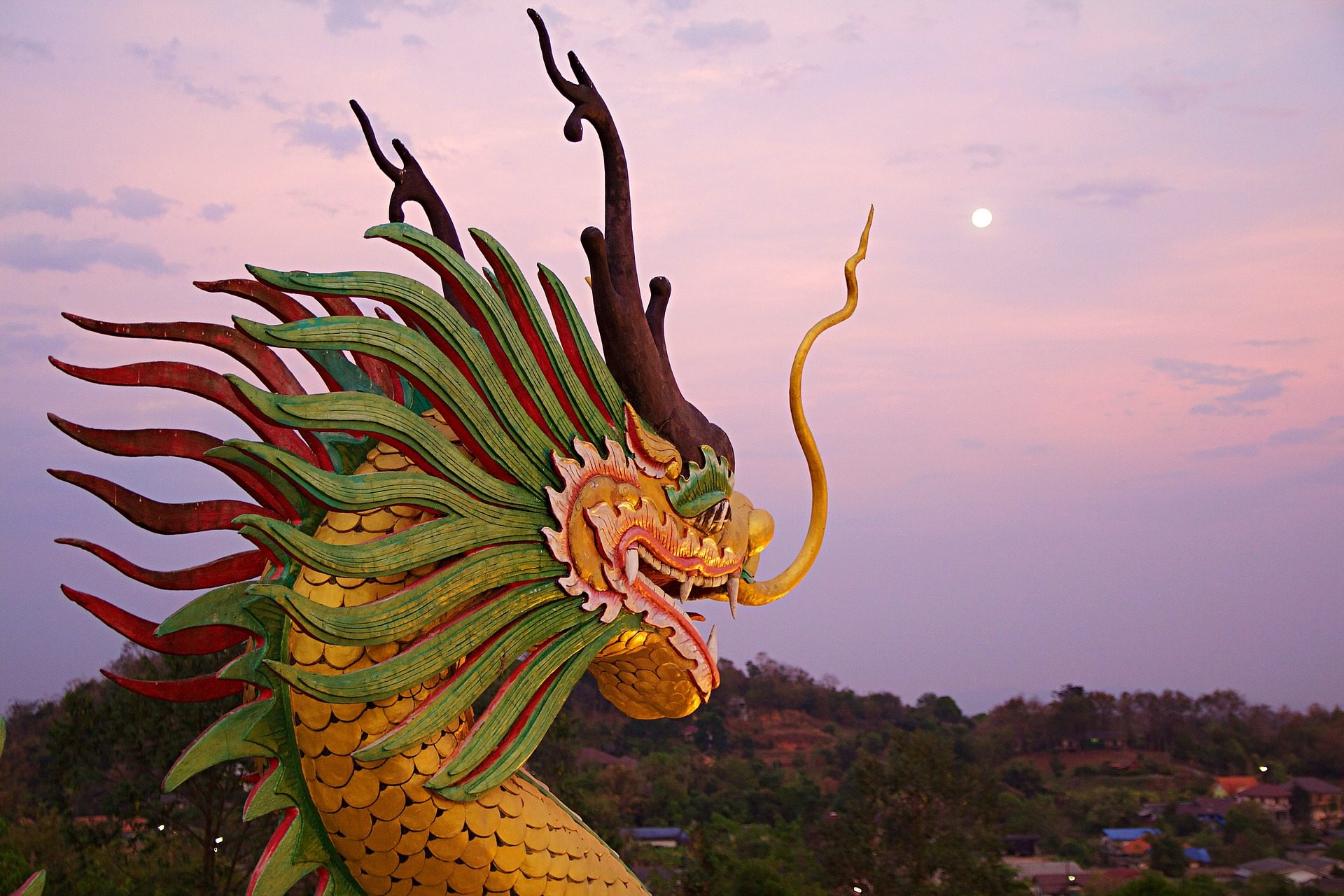 ドラゴン, 像, 図, カラフルです, タイ - HD の壁紙 - 教授-falken.com