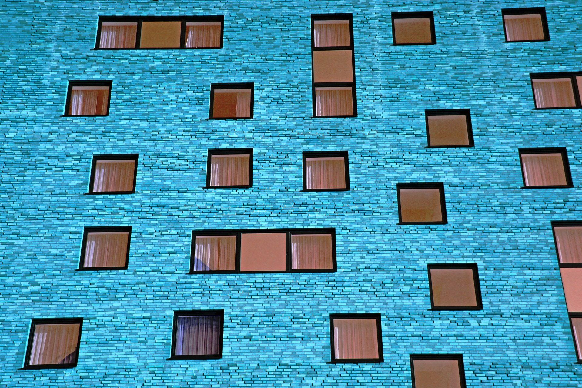 bâtiment, façade, Appartements, Windows, Bleu - Fonds d'écran HD - Professor-falken.com