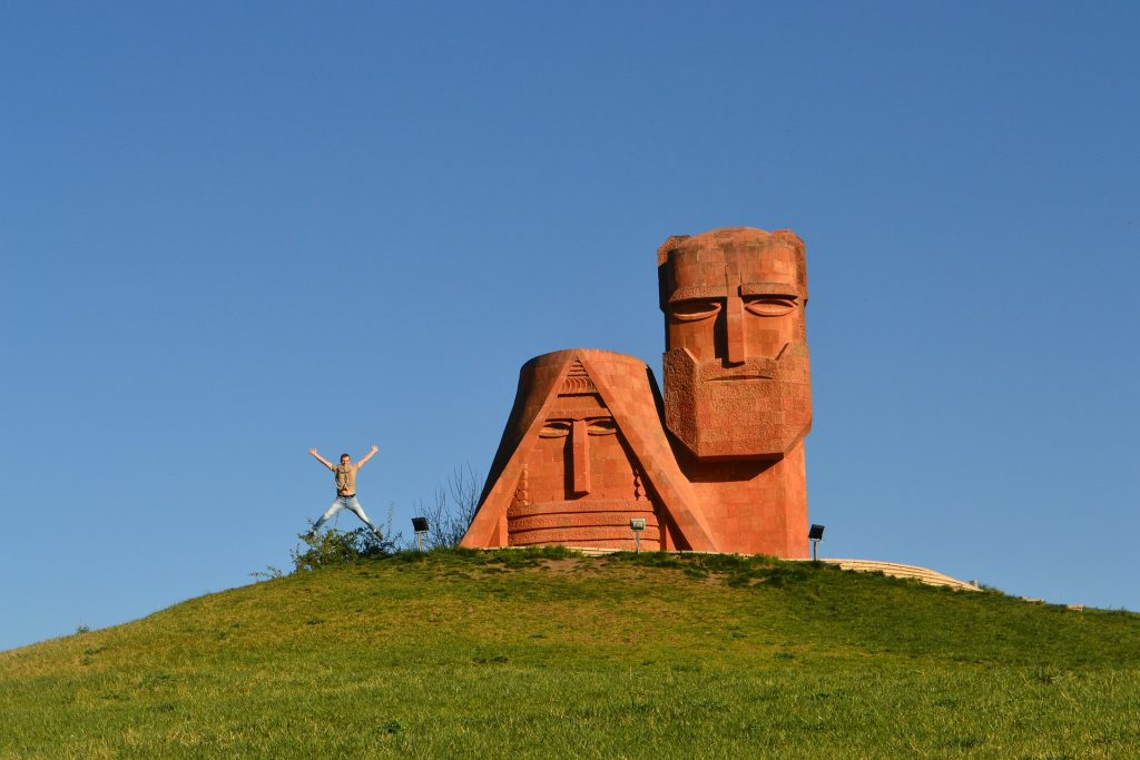 estatua, monumento, totem, colina, hombre, salto, 1708191112