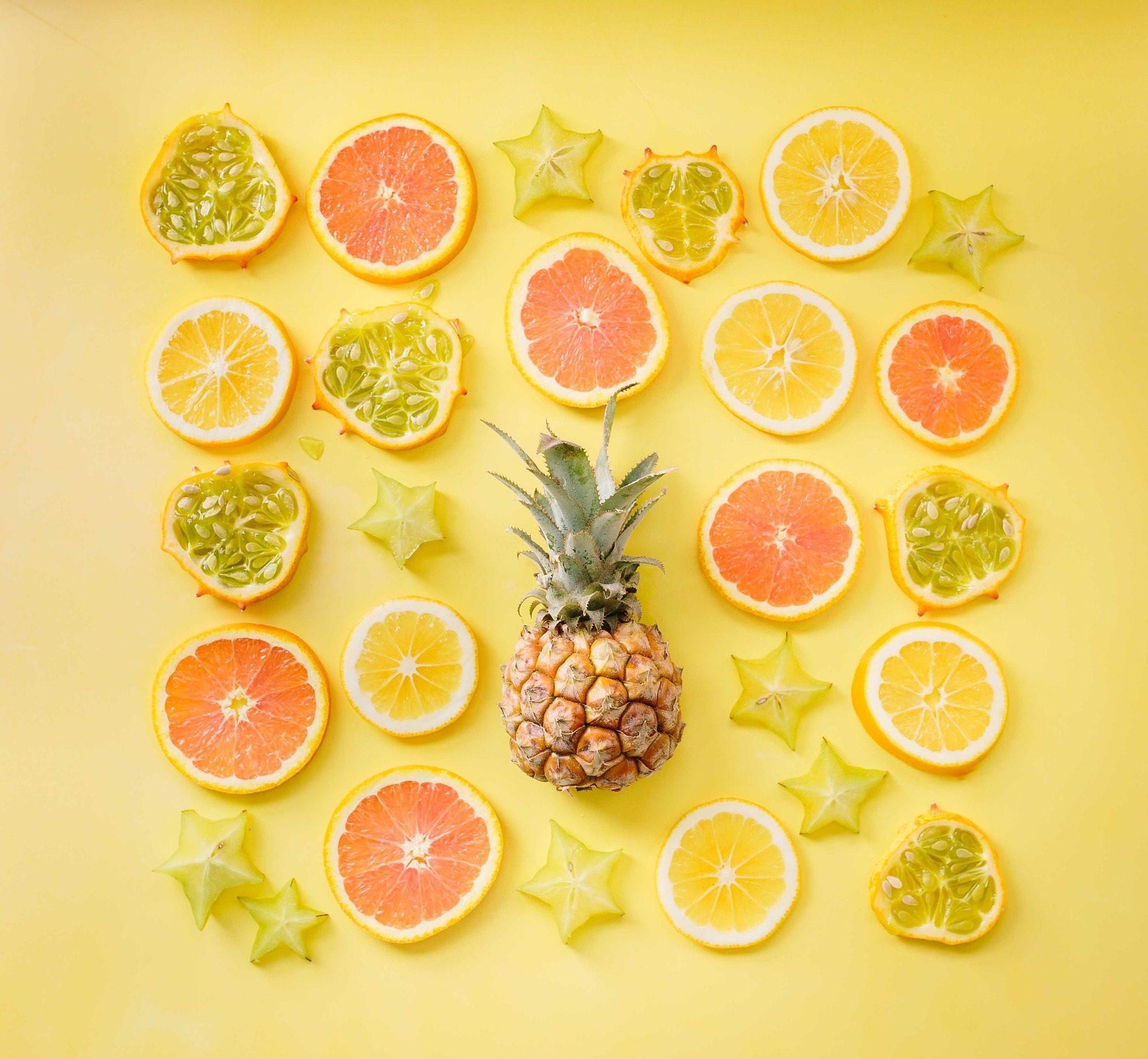 φρούτα, Μωσαϊκό, Ανανάς, γκρέιπ φρουτ, τα λεμόνια - Wallpapers HD - Professor-falken.com
