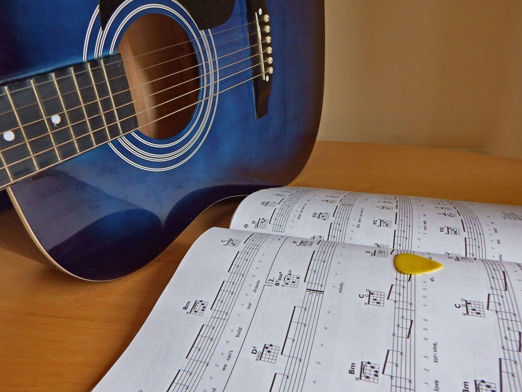 ギター, シート音楽, ノート, 文字列, プア, 1708262052