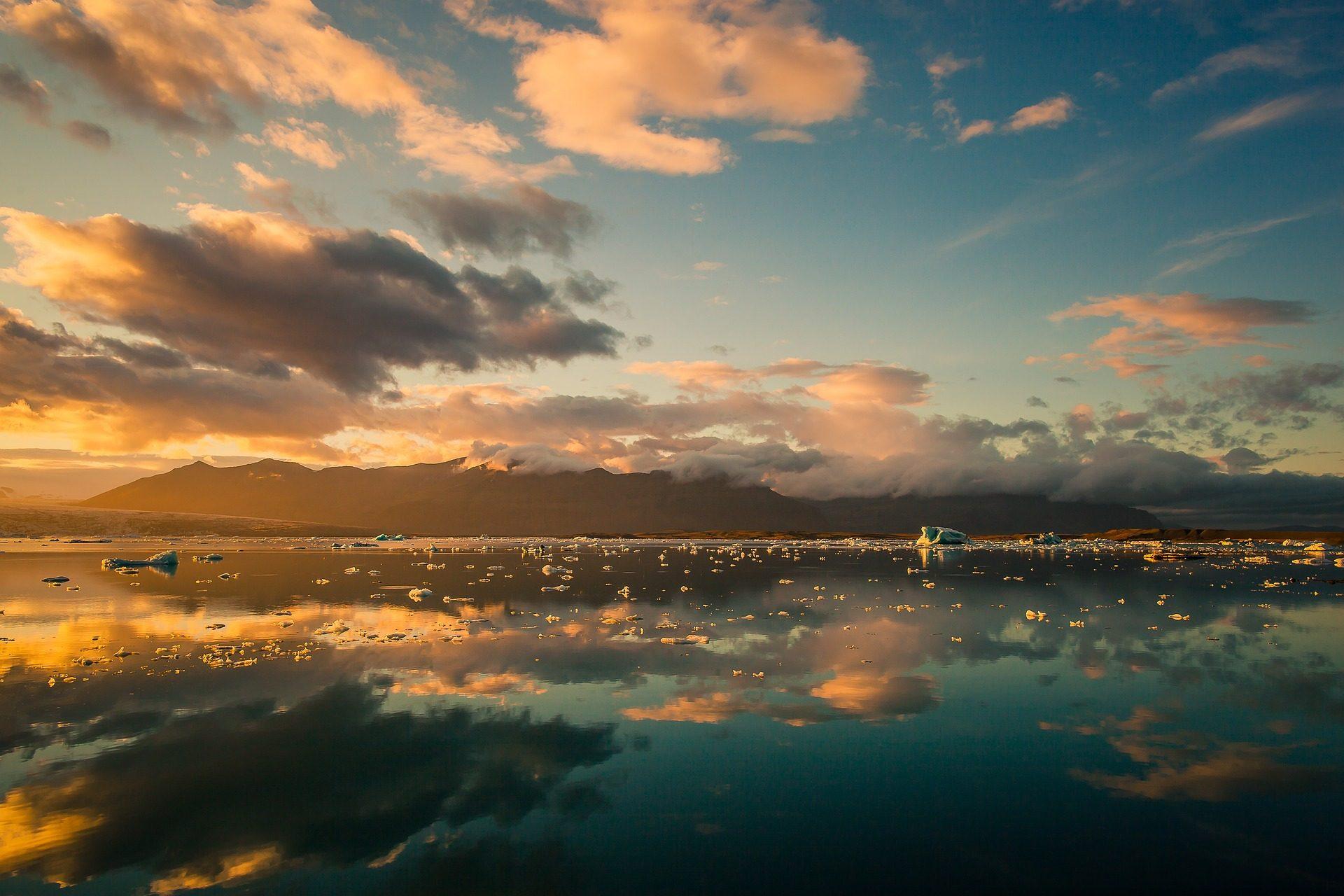 بحيرة, البحر, الجبال, السحب., تأملات, الجليد - خلفيات عالية الدقة - أستاذ falken.com