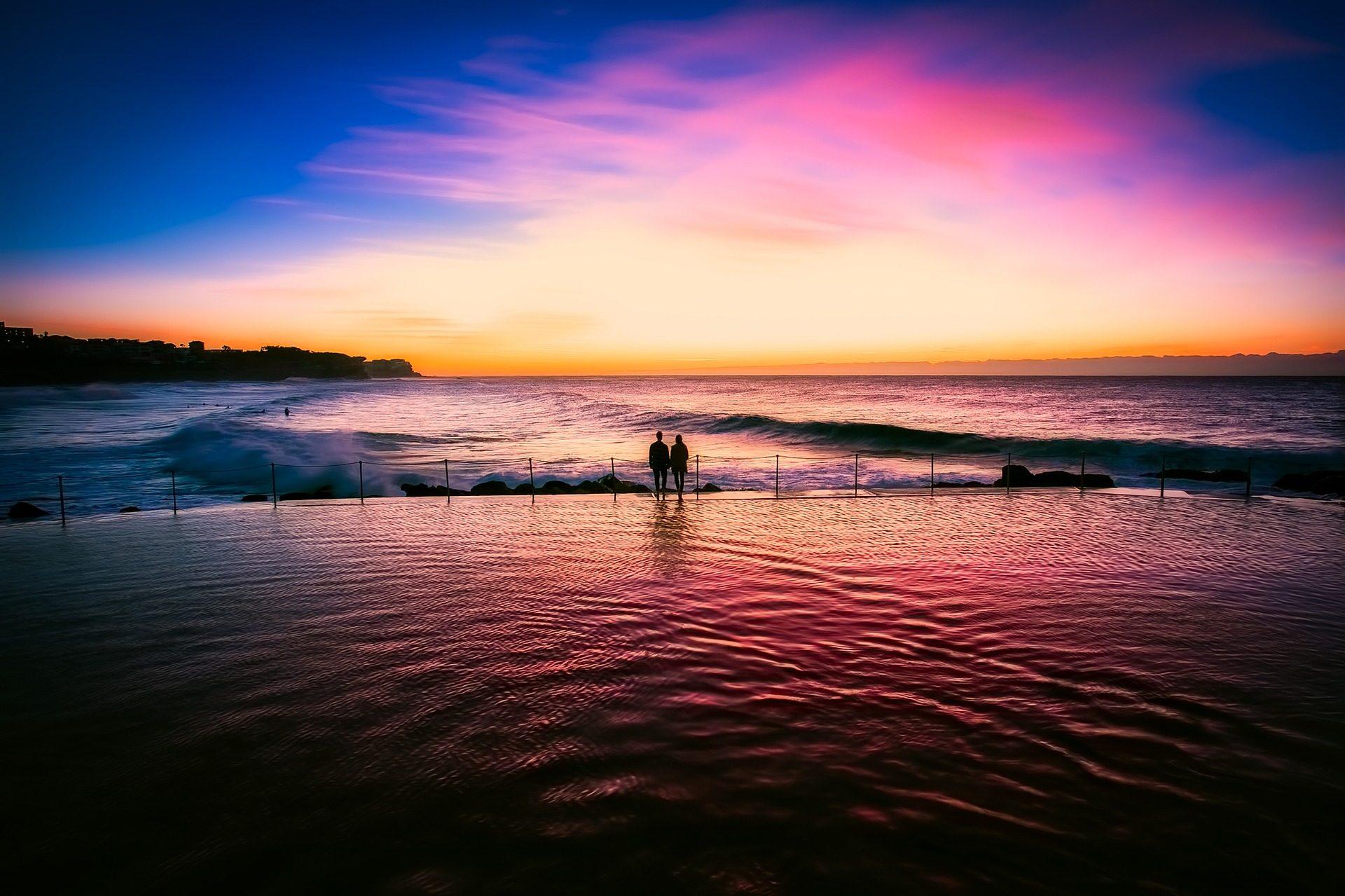 mar, 海, サンセット, カップル, シルエット - HD の壁紙 - 教授-falken.com