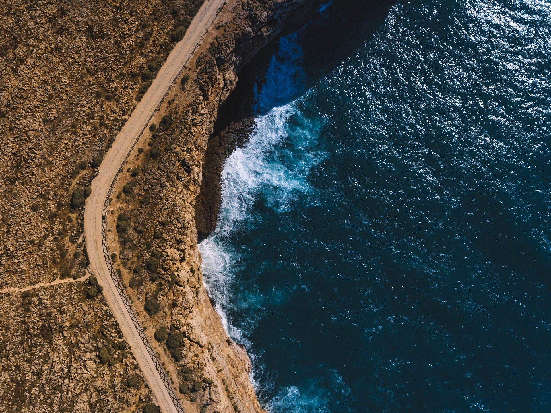 البحر, المحيط, الشاطئ, الطريق, المنحدرات, الأرض - خلفيات عالية الدقة - أستاذ falken.com