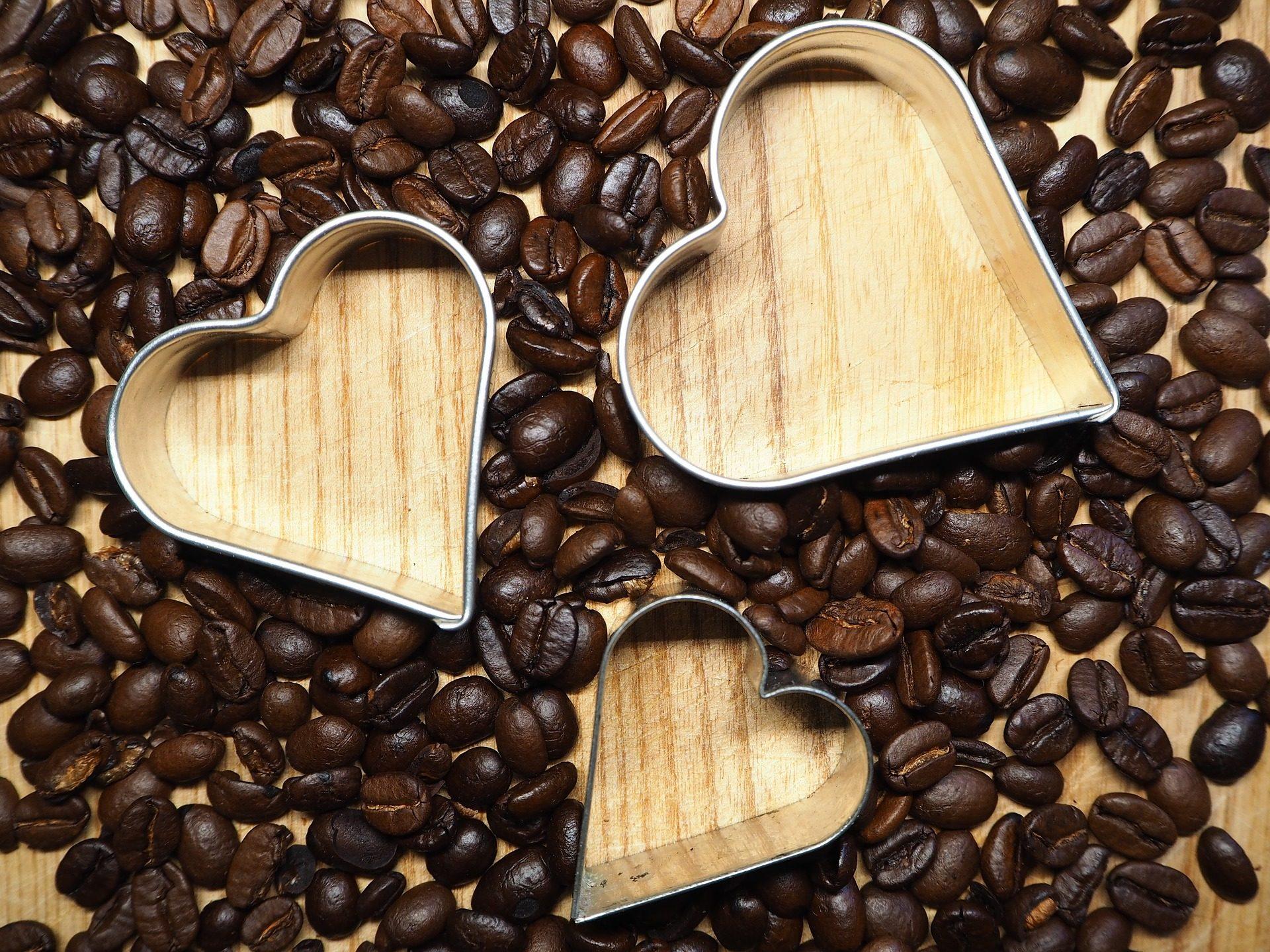 قوالب, قلوب, الحبوب, القهوة, الخشب - خلفيات عالية الدقة - أستاذ falken.com