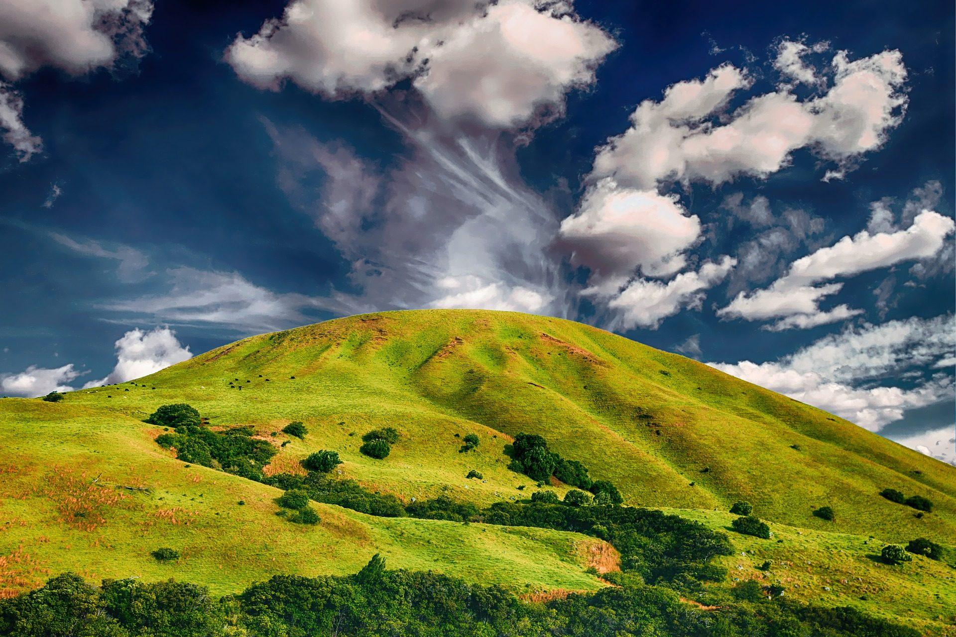 Гора, Колина, Прадера, Небо, облака - Обои HD - Профессор falken.com