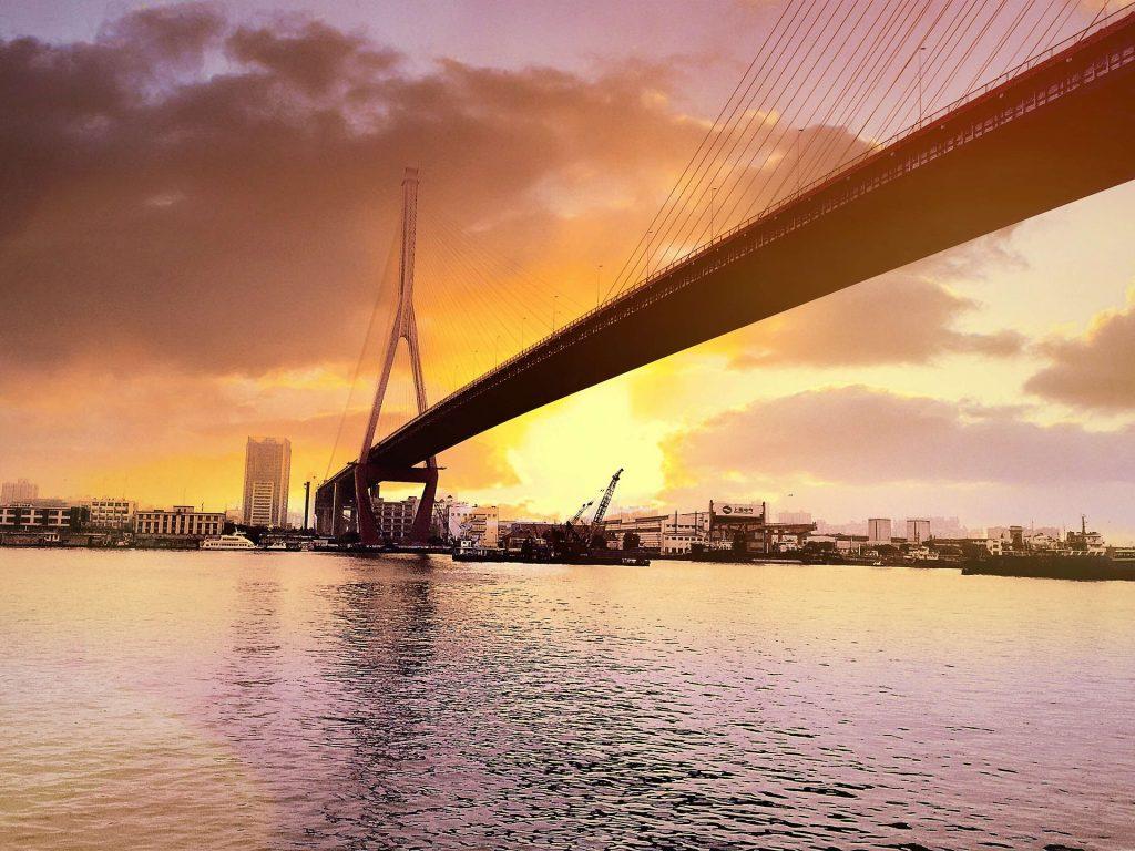 puente, ciudad, atardecer, mar, sol, 1708111152