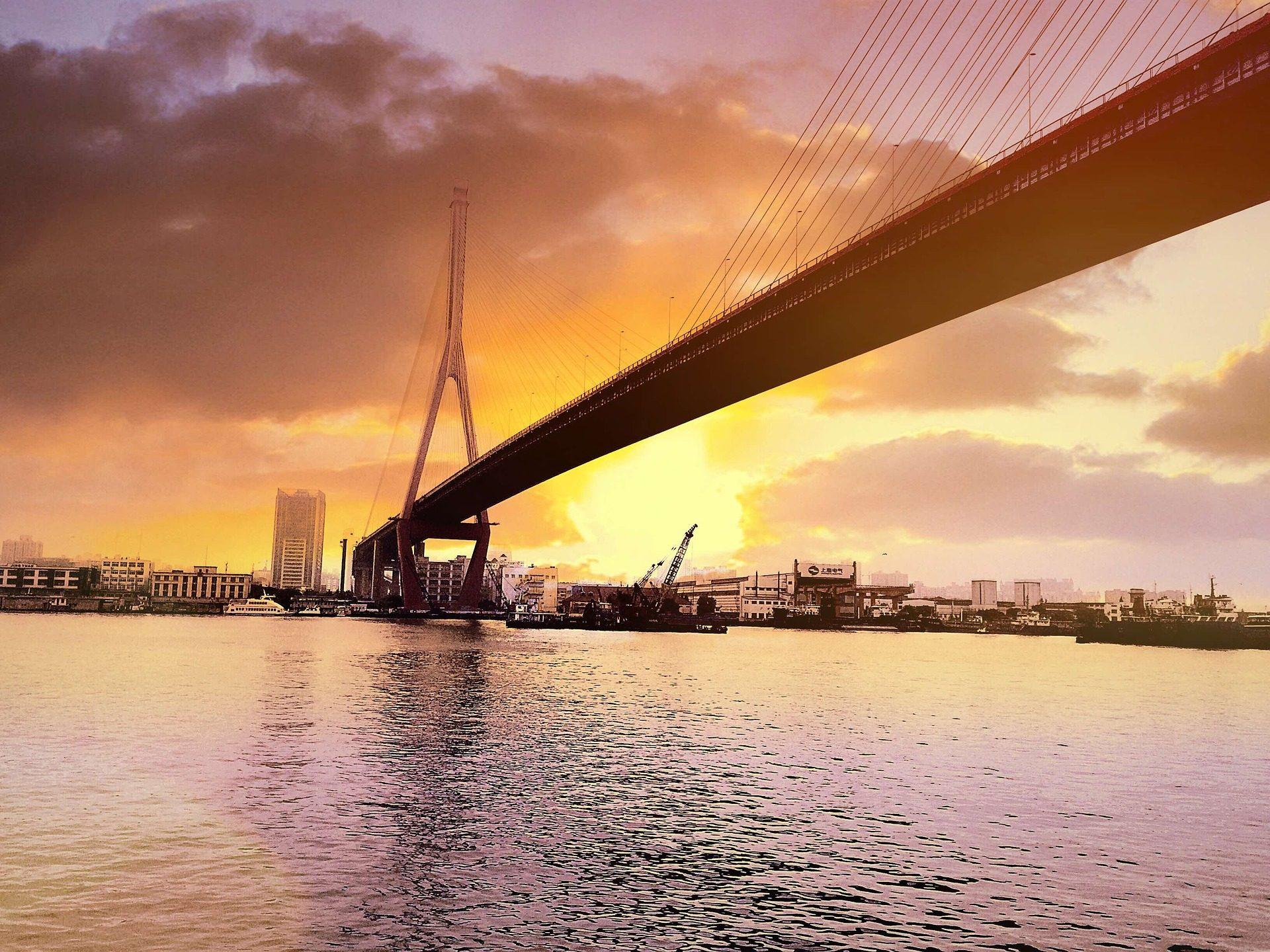 桥梁, 城市, 日落, 海, 太阳 - 高清壁纸 - 教授-falken.com