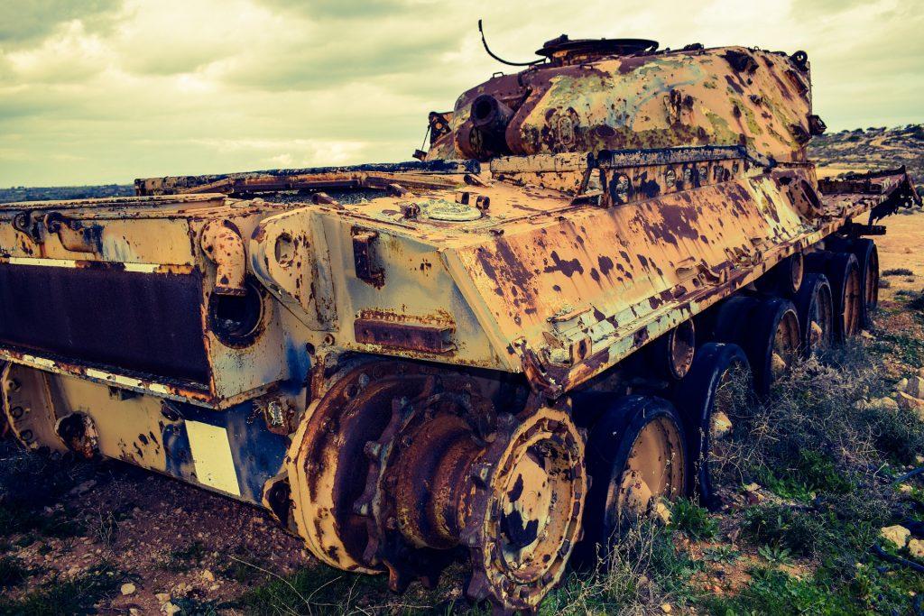 tanque, militare, vecchio, abbandonato, Óxido, 1708181507
