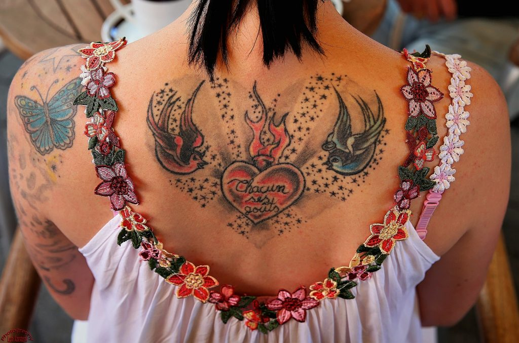 纹身, 返回, 女人, 穿衣服, 花, 1708141402