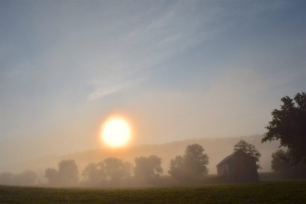 夜明け, フィールド, 霧, 家, 太陽, 1709182015