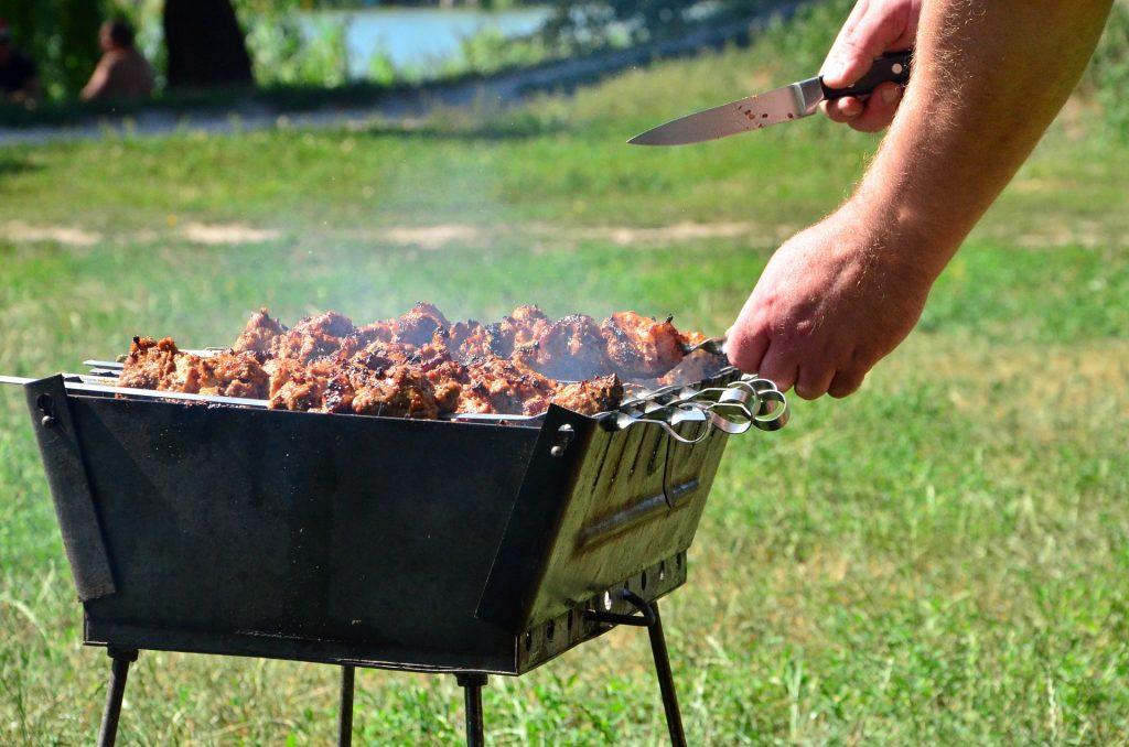 烧烤, 肉, 戳穿, kebab, 刀, 花园, 1709051738
